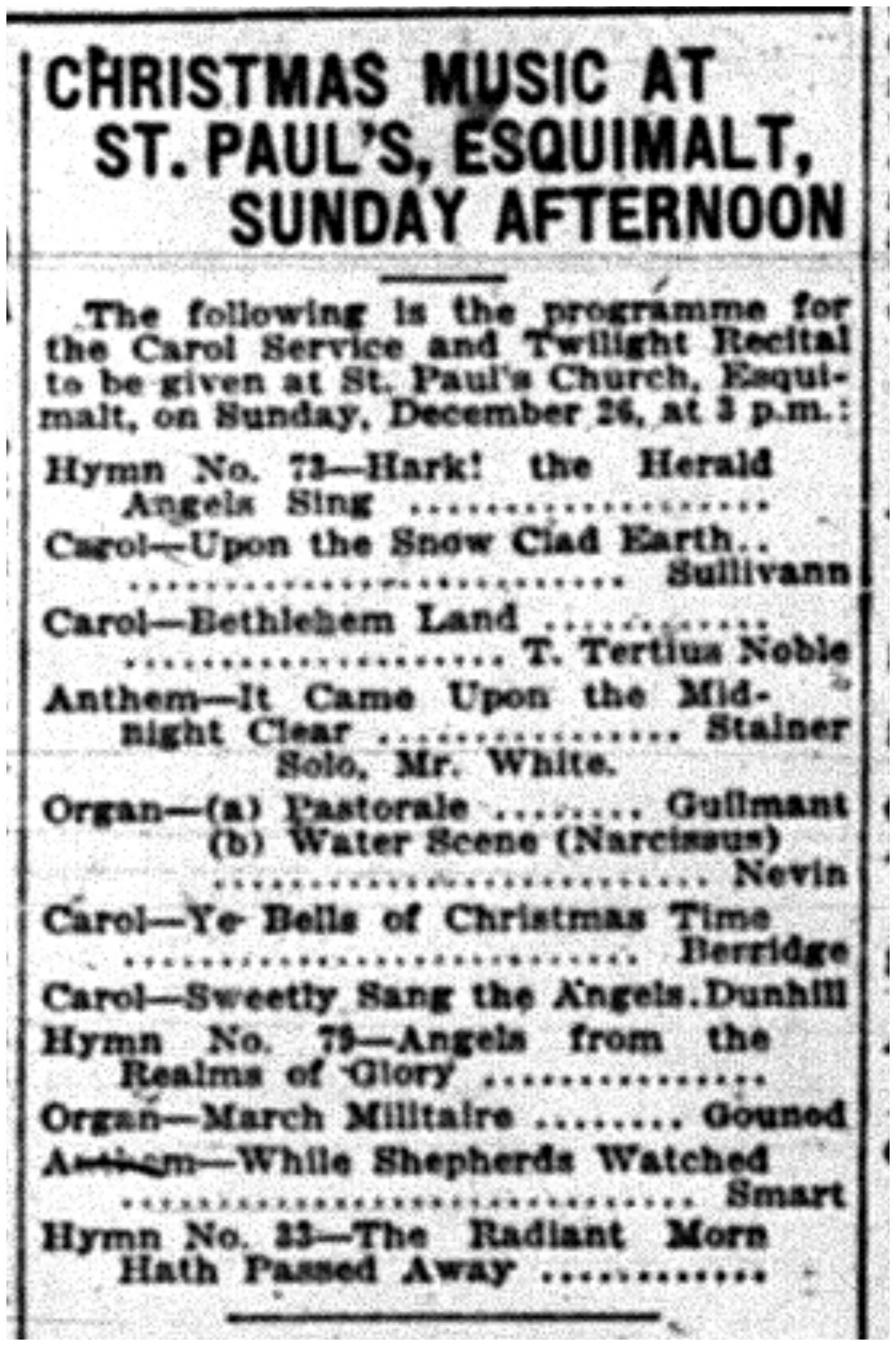 """Christmas Music At St. Paul's, Esquimalt, Sunday Afternoon"""