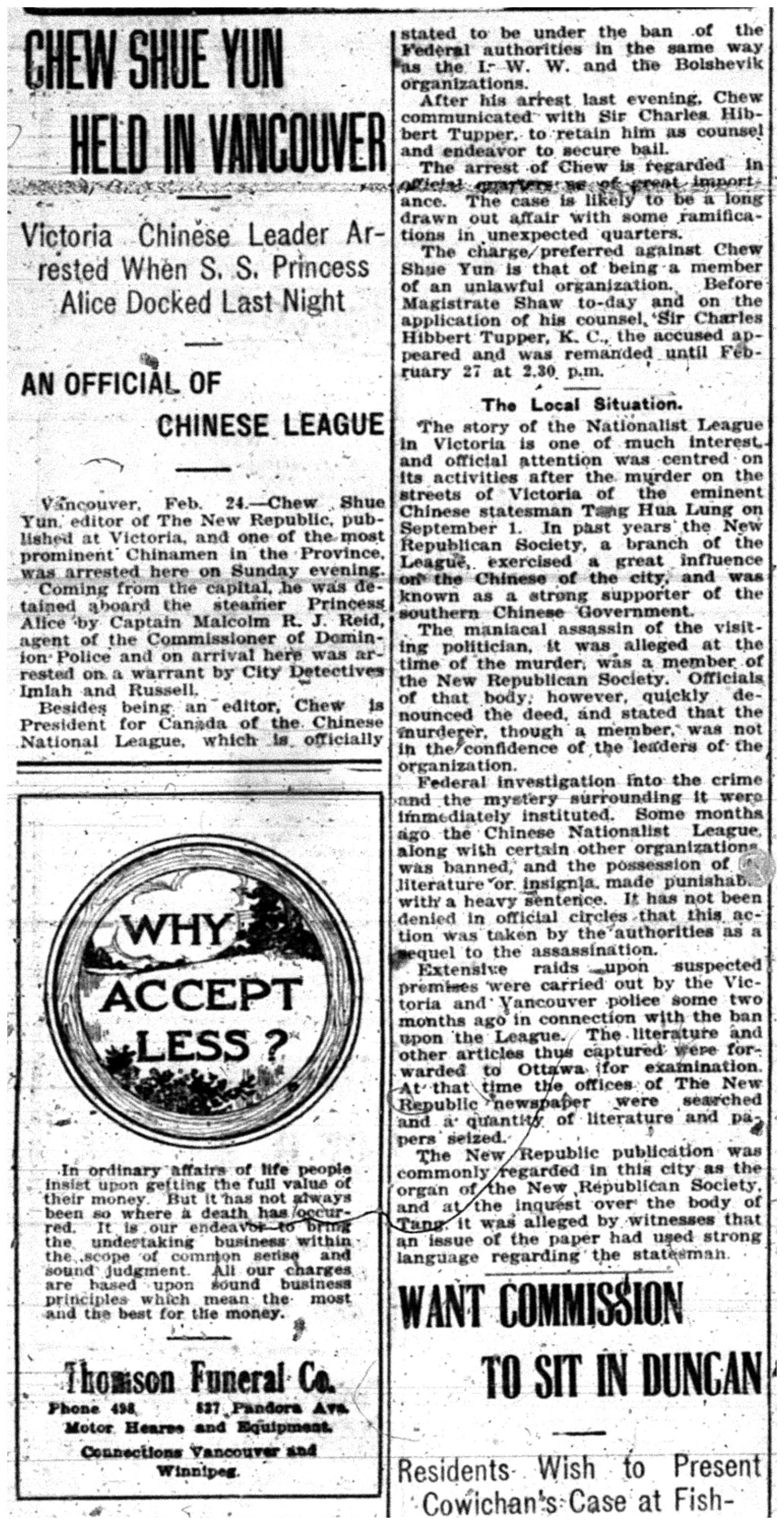"""Chew Shue Yun Held in Vancouver"""