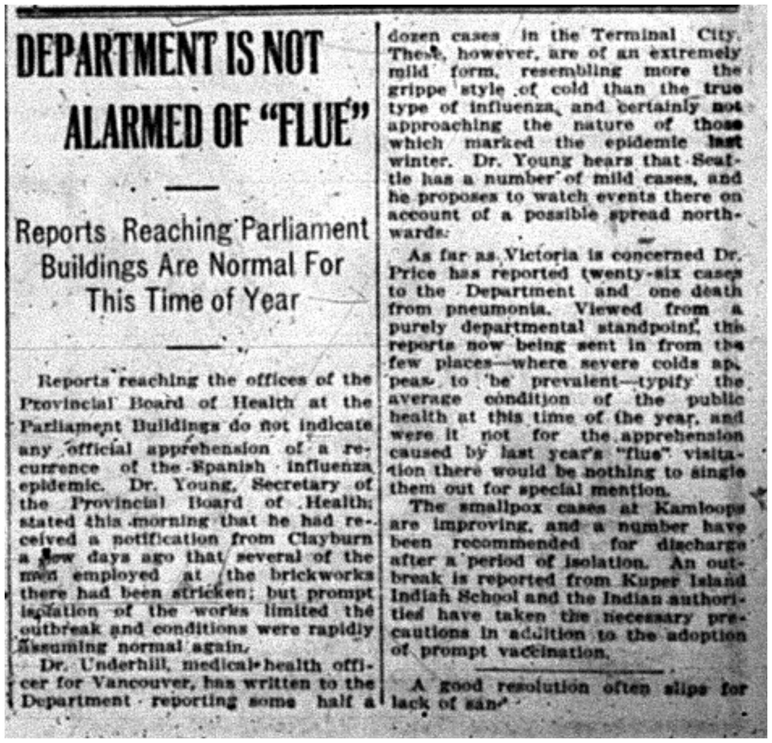 """Department Is Not Alarmed of Flue"""