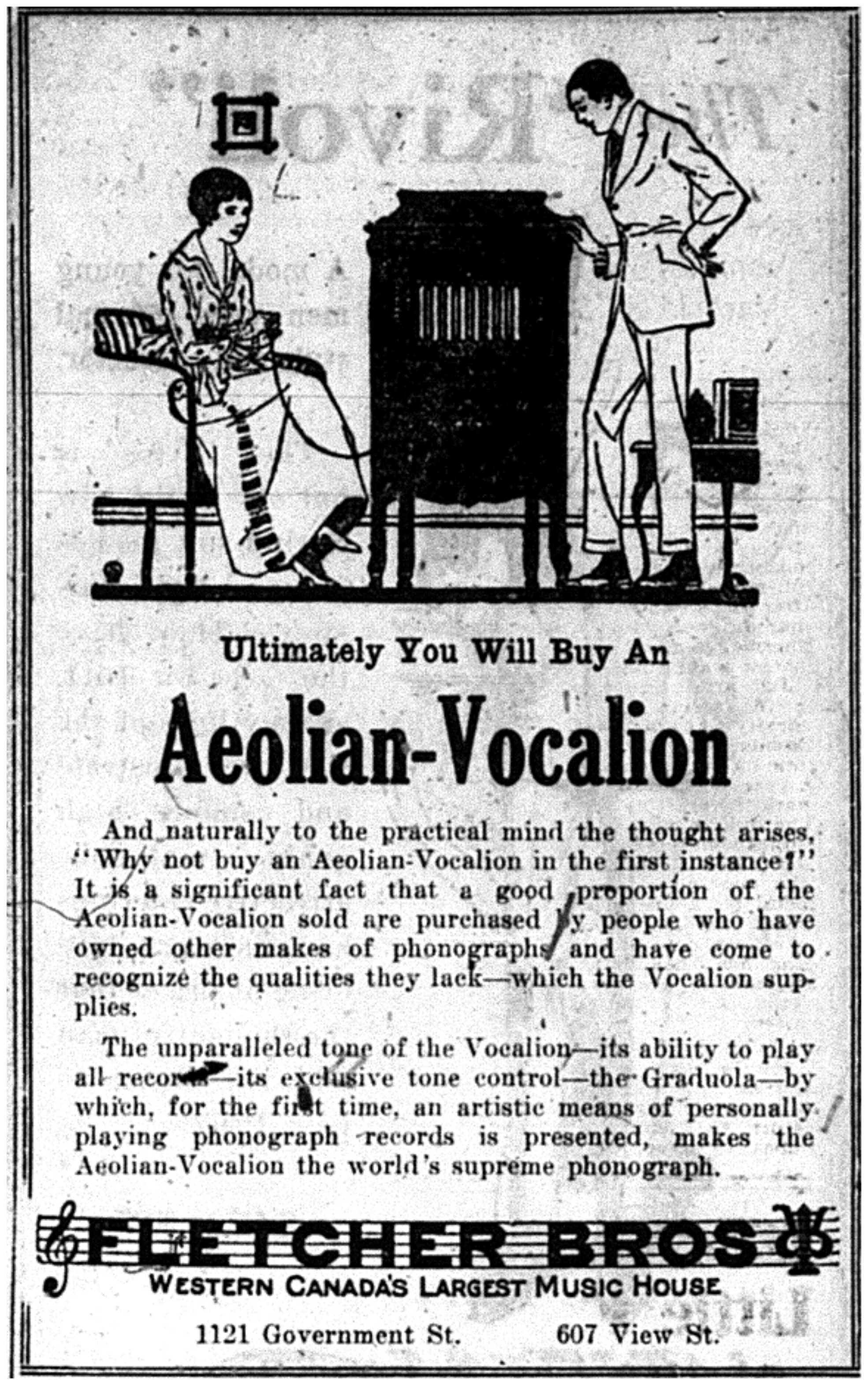 """Ultimately You Will Buy an Aeolian-Vocalion"""