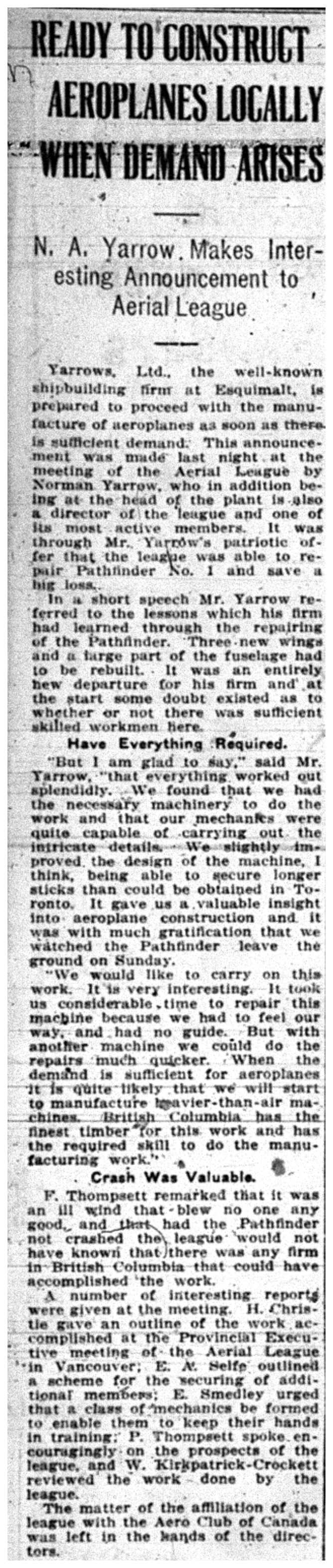 """""""Ready to Construct Aeroplanes Locally When Demand Arises"""""""