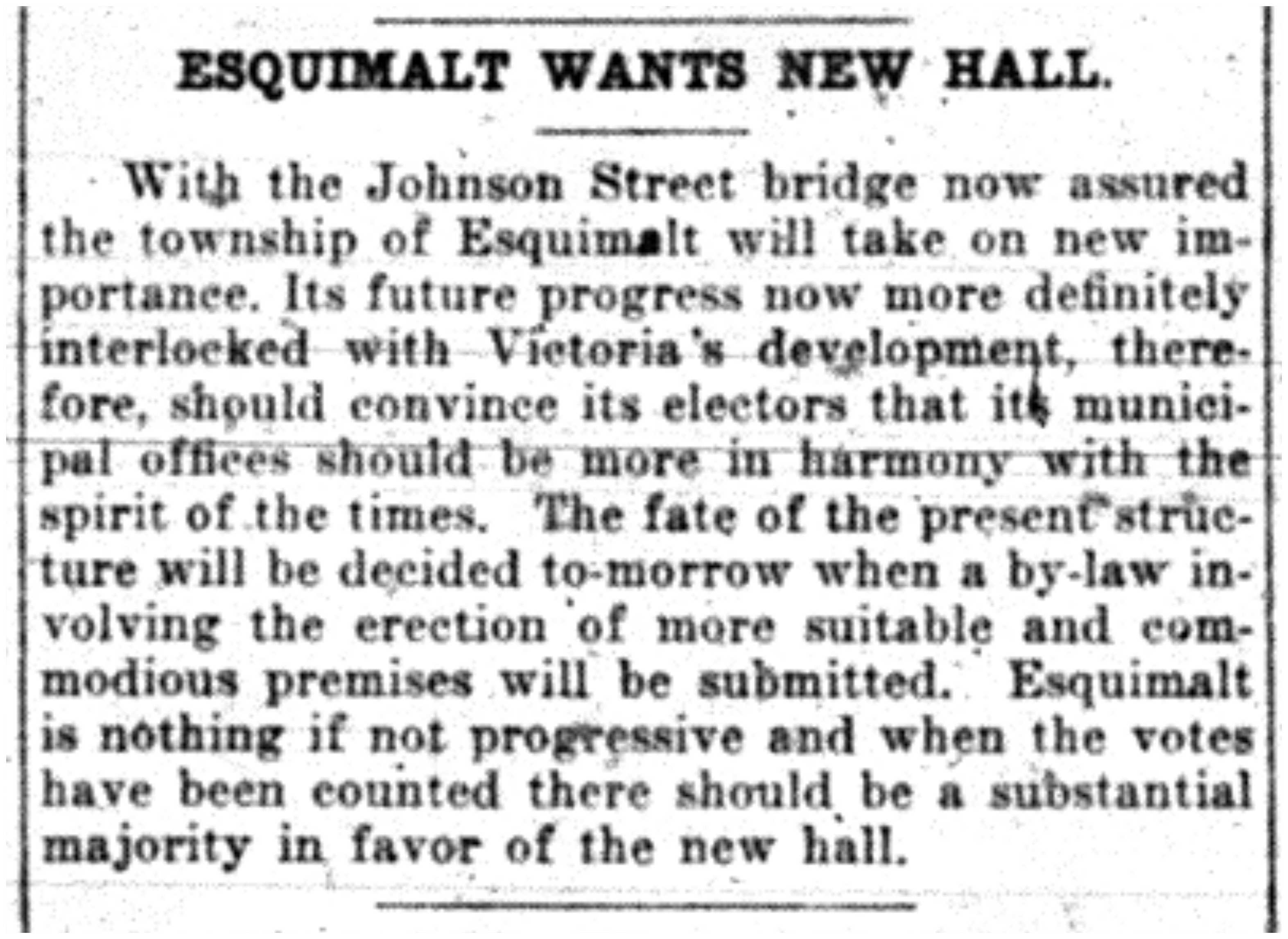 """Esquimalt Wants New Hall"""