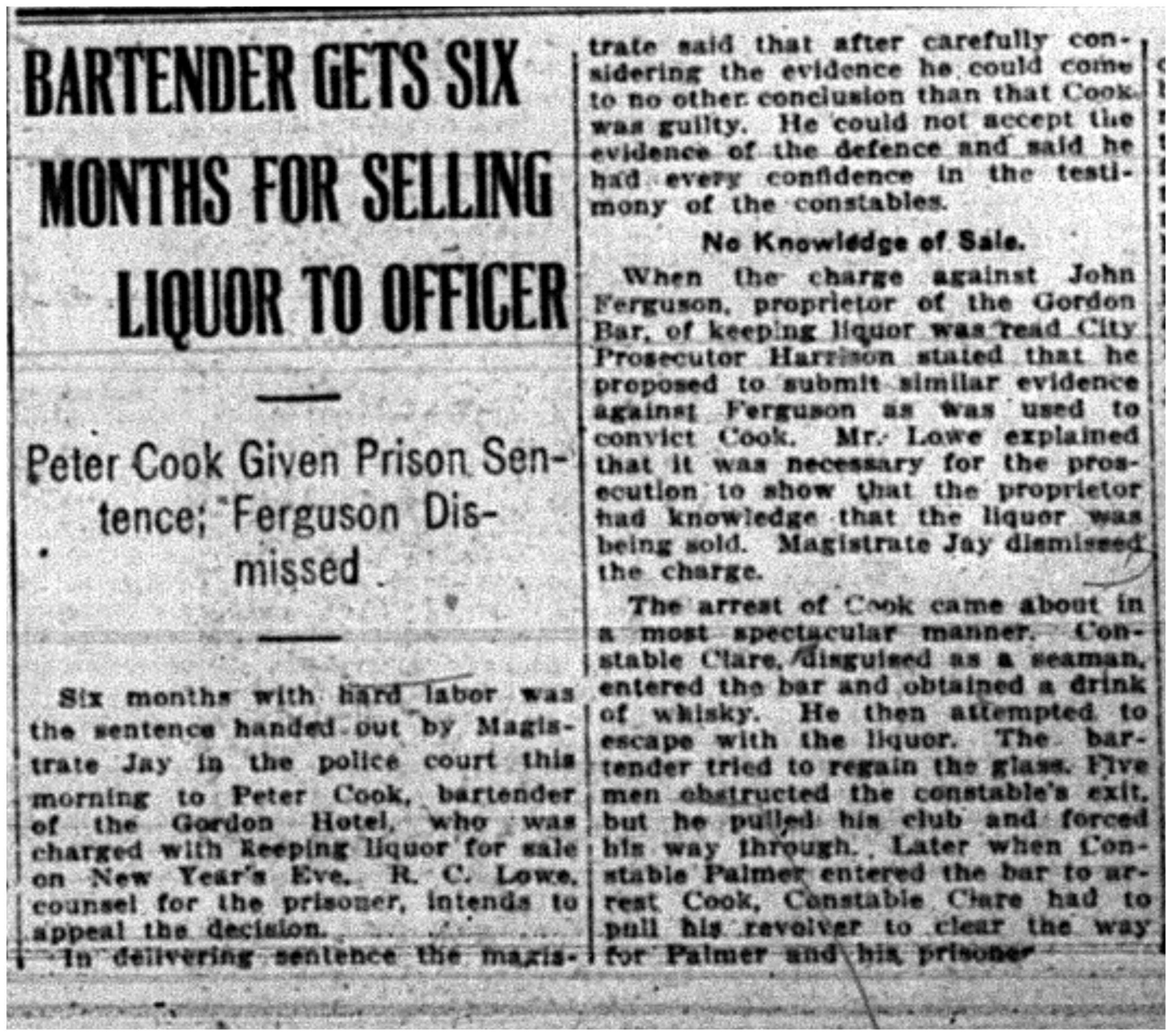 """Bartender Gets Six Months For Selling Liquor to Officer"""