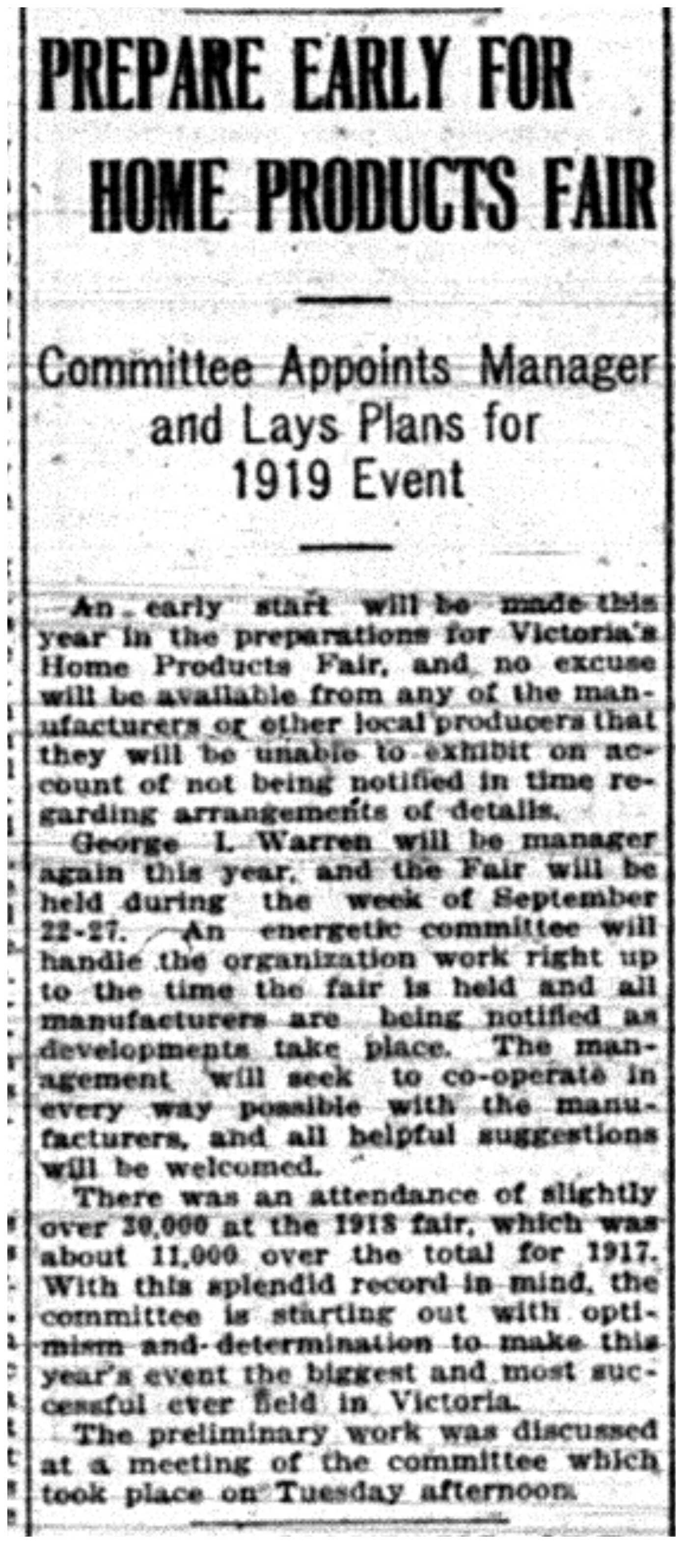 """Prepare Early for Home Products Fair: Committee Appoints Manager and Lays Plans for 1919 Event"""