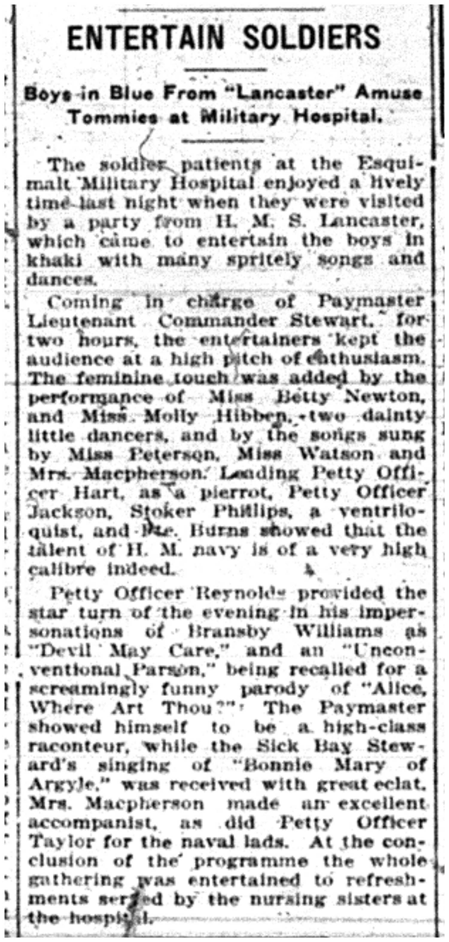 """Entertain Soldiers: Boys in Blue from ""Lancaster"" Amuse Tommies at Military Hospital"""