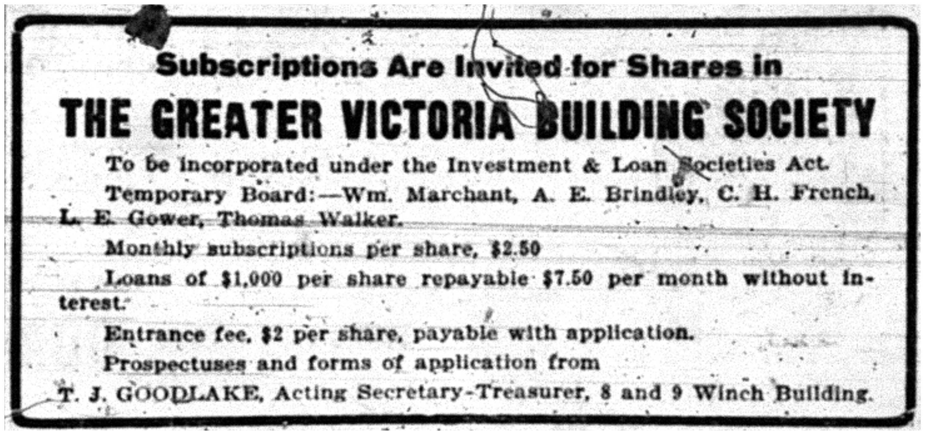 """Subscriptions are Invited for Shares in the Greater Victoria Building Society"""