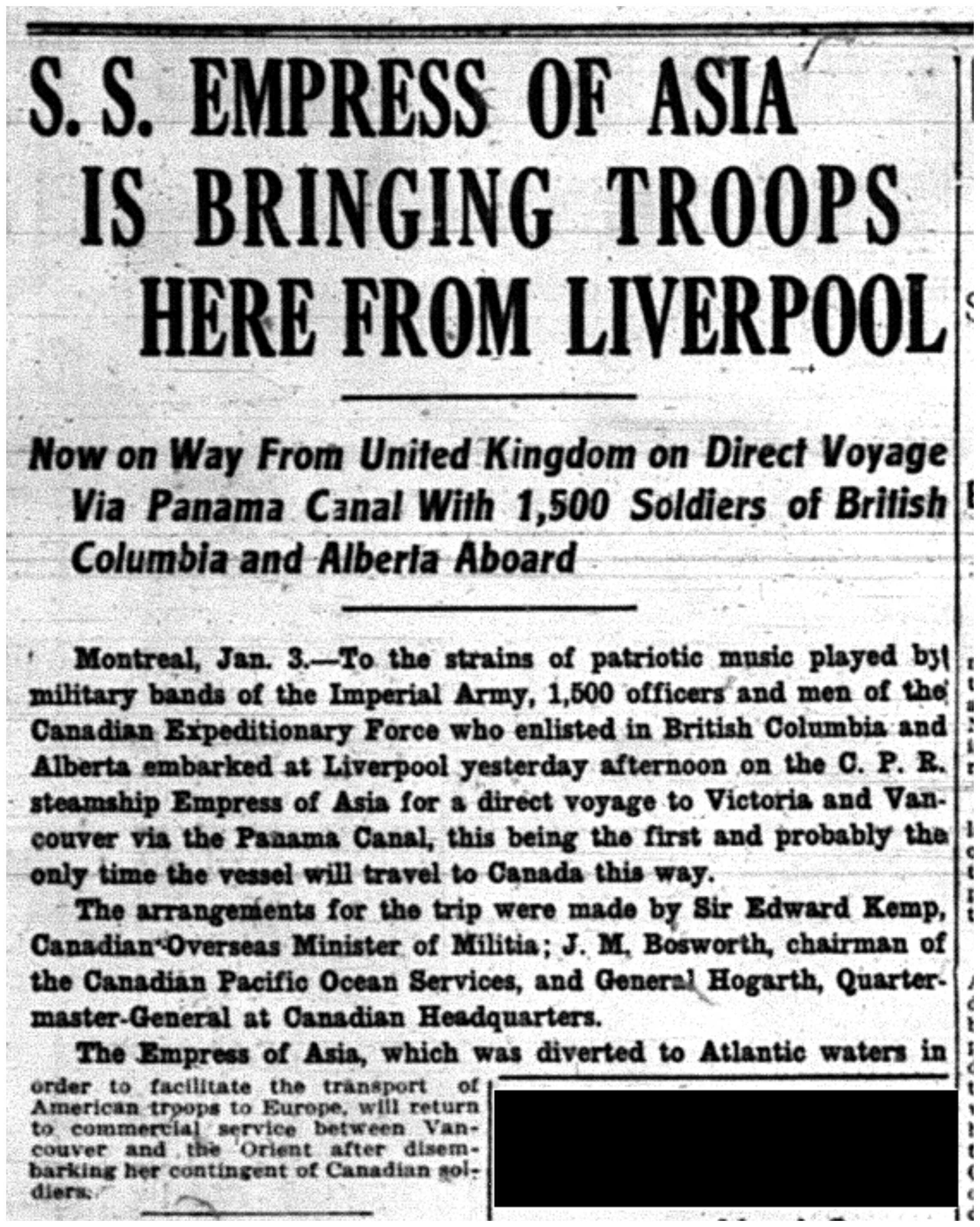 """S.S. Empress of Asia is Bringing Troops Here from Liverpool"""