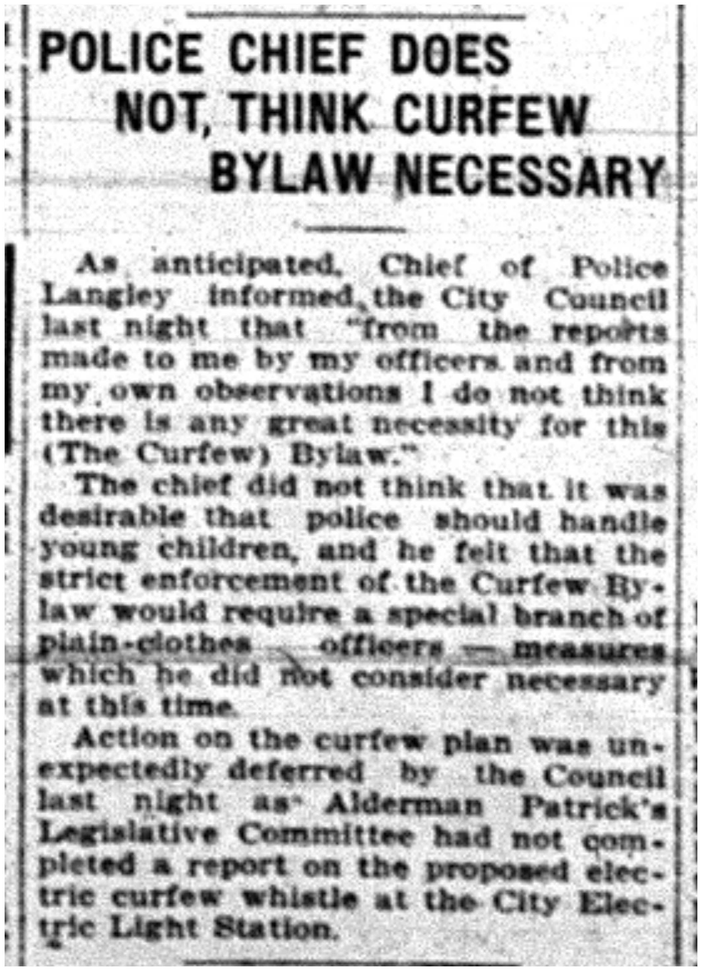 """Police Chief Does Not, Think Curfew Bylaw Necessary""-jpg"