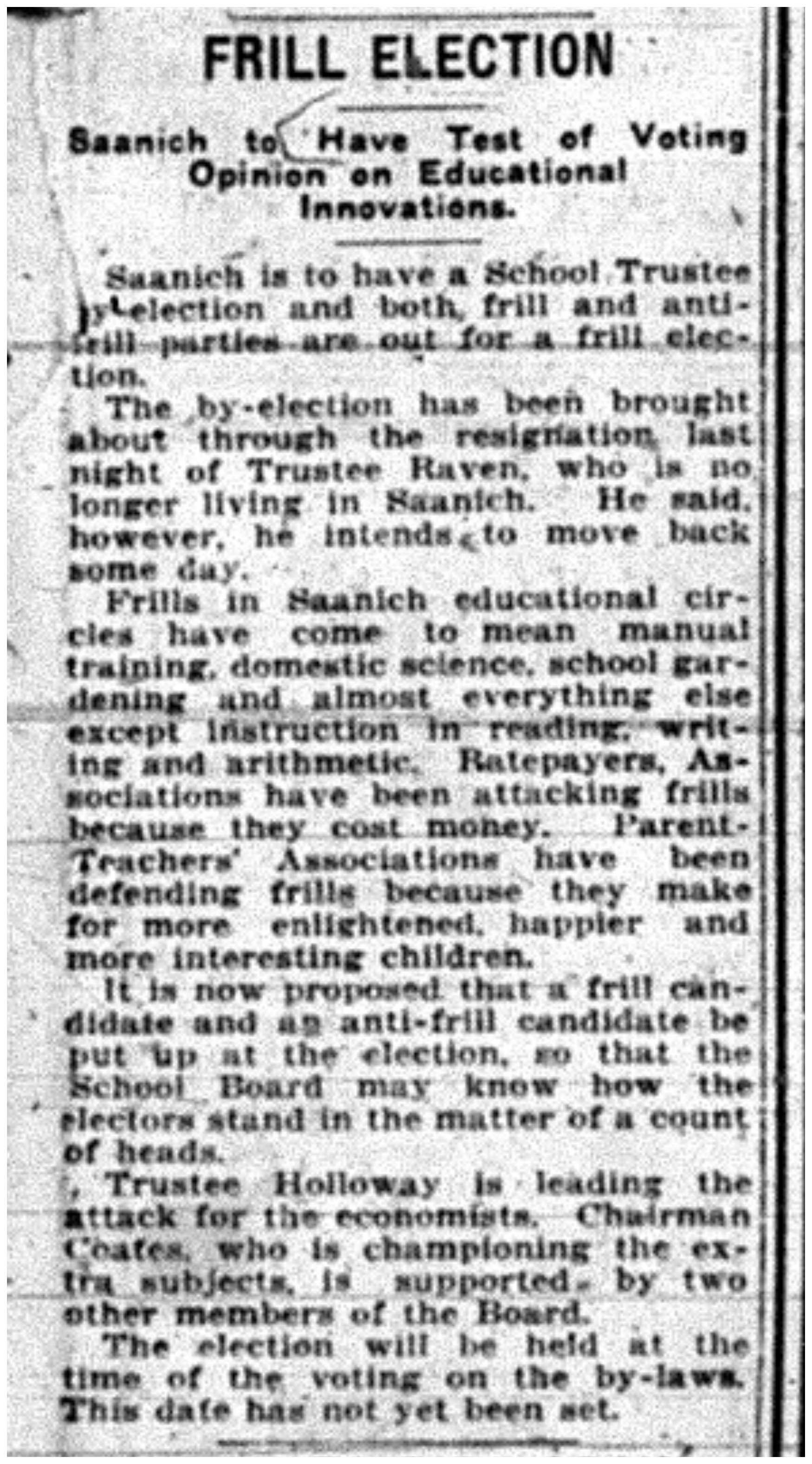 """""""Frill Election: Saanich To Have Test of Voting Opinion on Educational Innovations"""""""