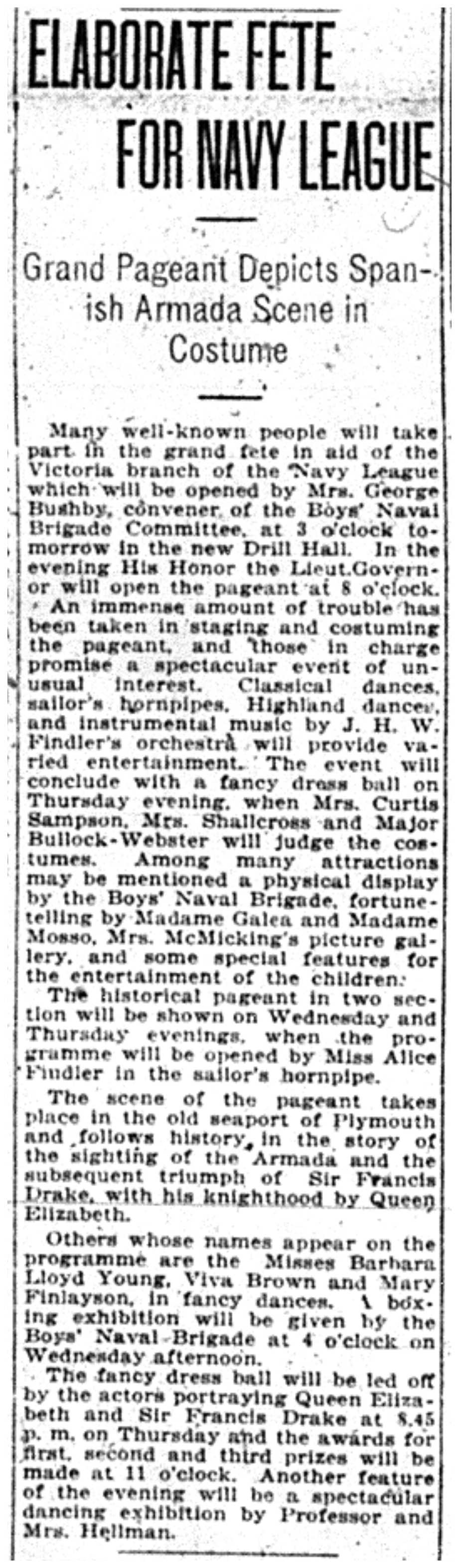 """Elaborate Fete For Navy League"""
