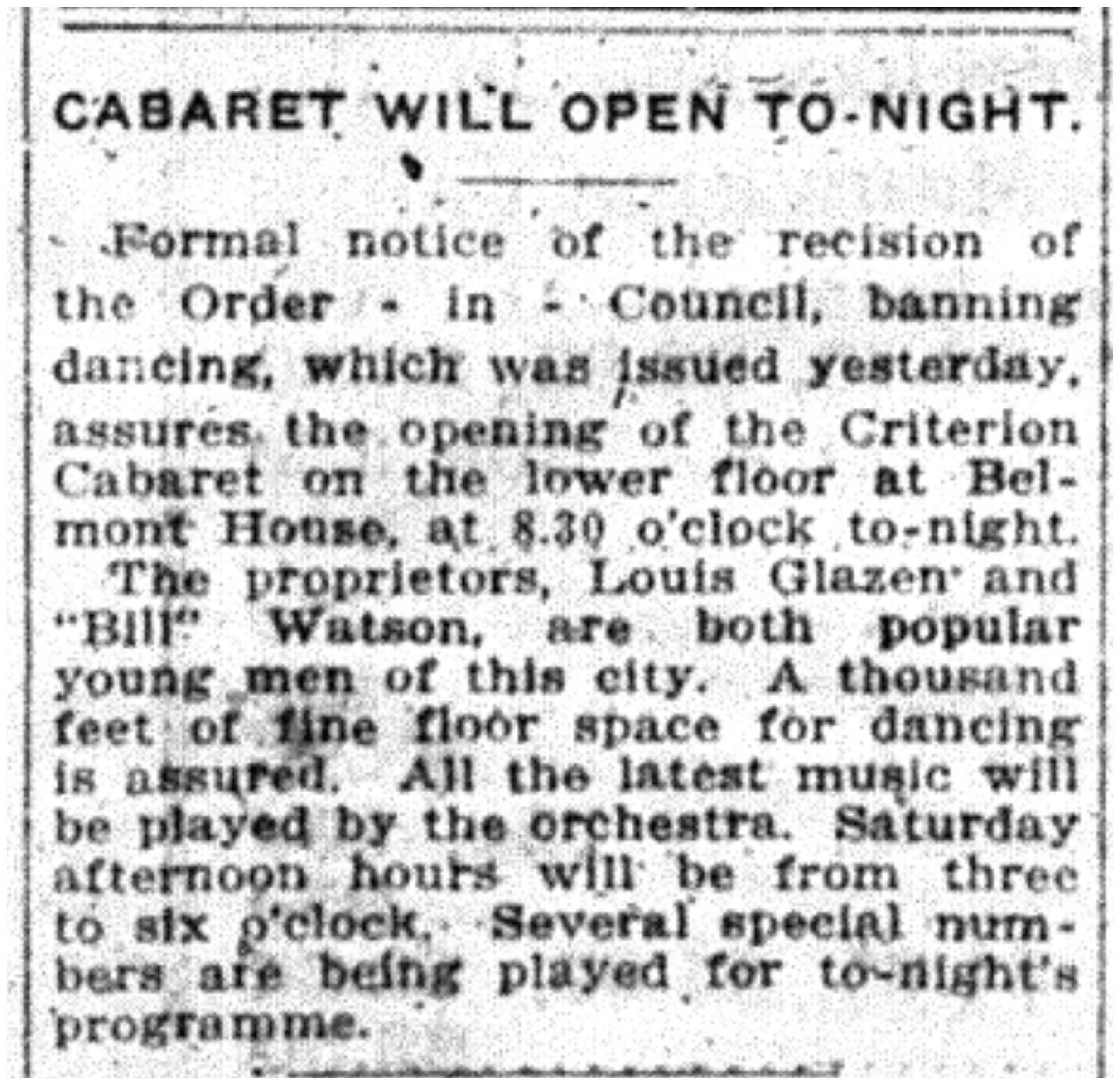 """Cabaret Will Open To-Night"""