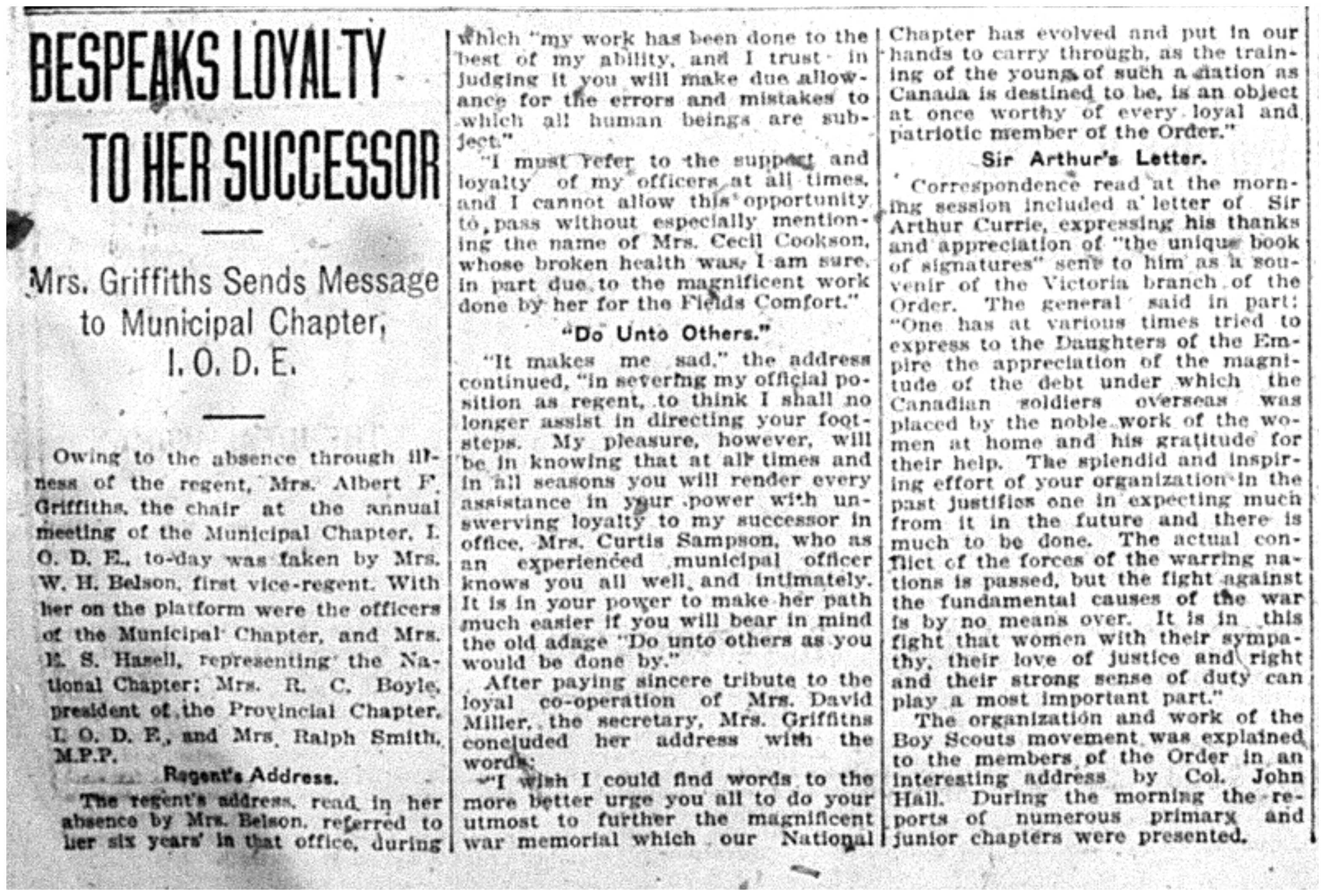 """Bespeaks Loyalty to Her Successor"""