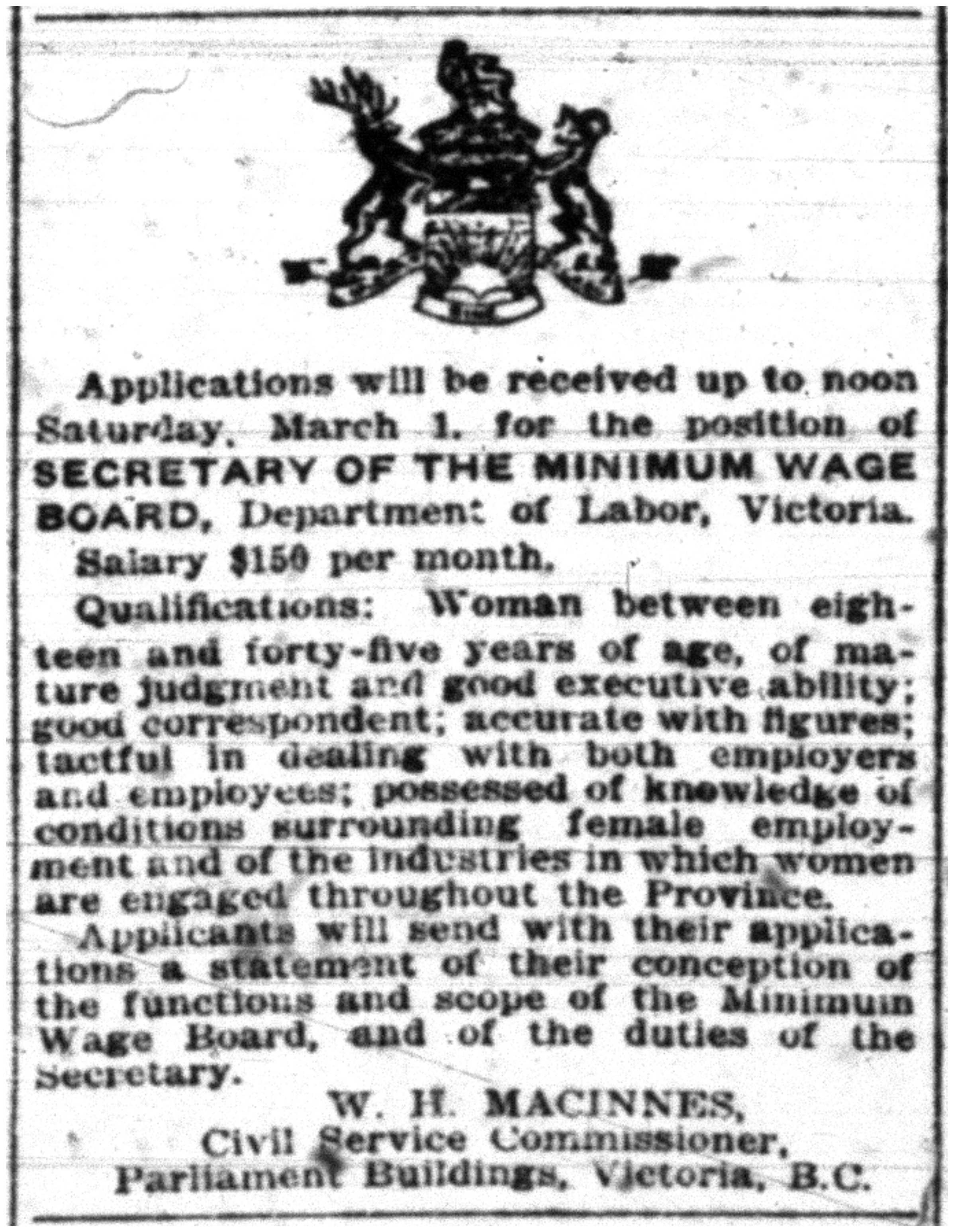Advertisement for Secretarial Position with the Minimum Wage Board