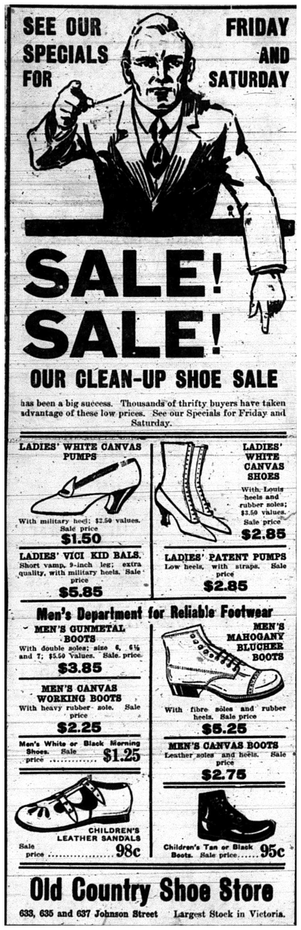 """""""Sale Sale! Our Clean-Up Shoe Sale"""""""