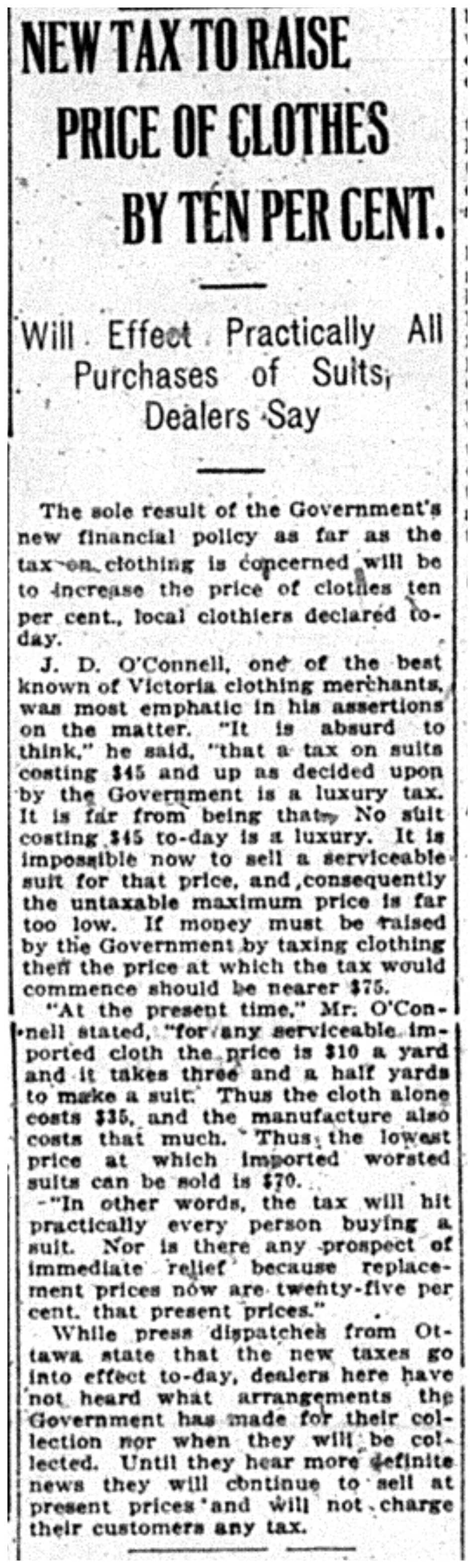 """""""New Tax to Raise Price of Clothes By Ten Per Cent"""""""