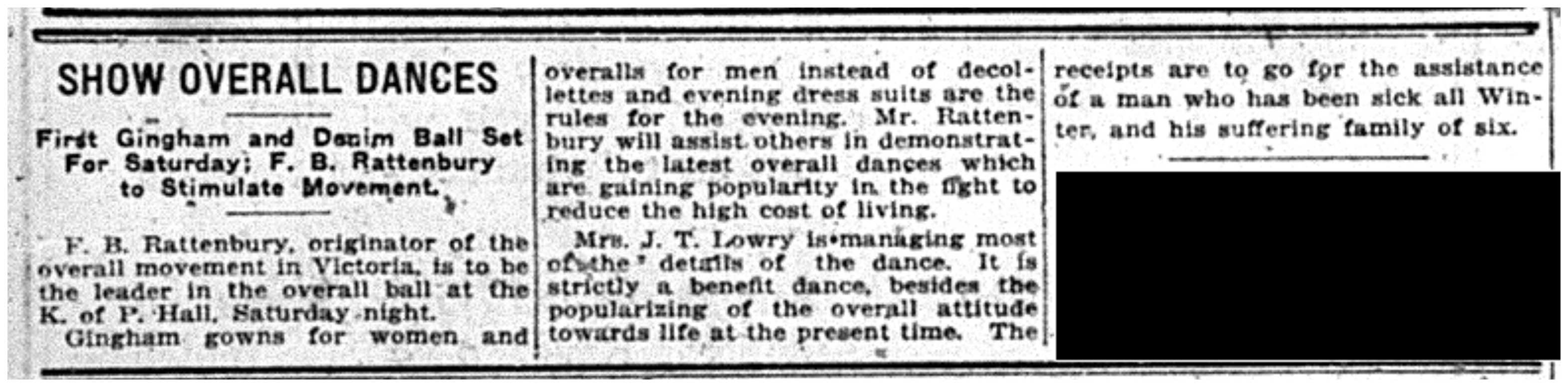 """""""Show Overall Dances: First Gingham and Denim Ball Set for Saturday; F.B. Rattenbury to Stimulate Movement"""""""