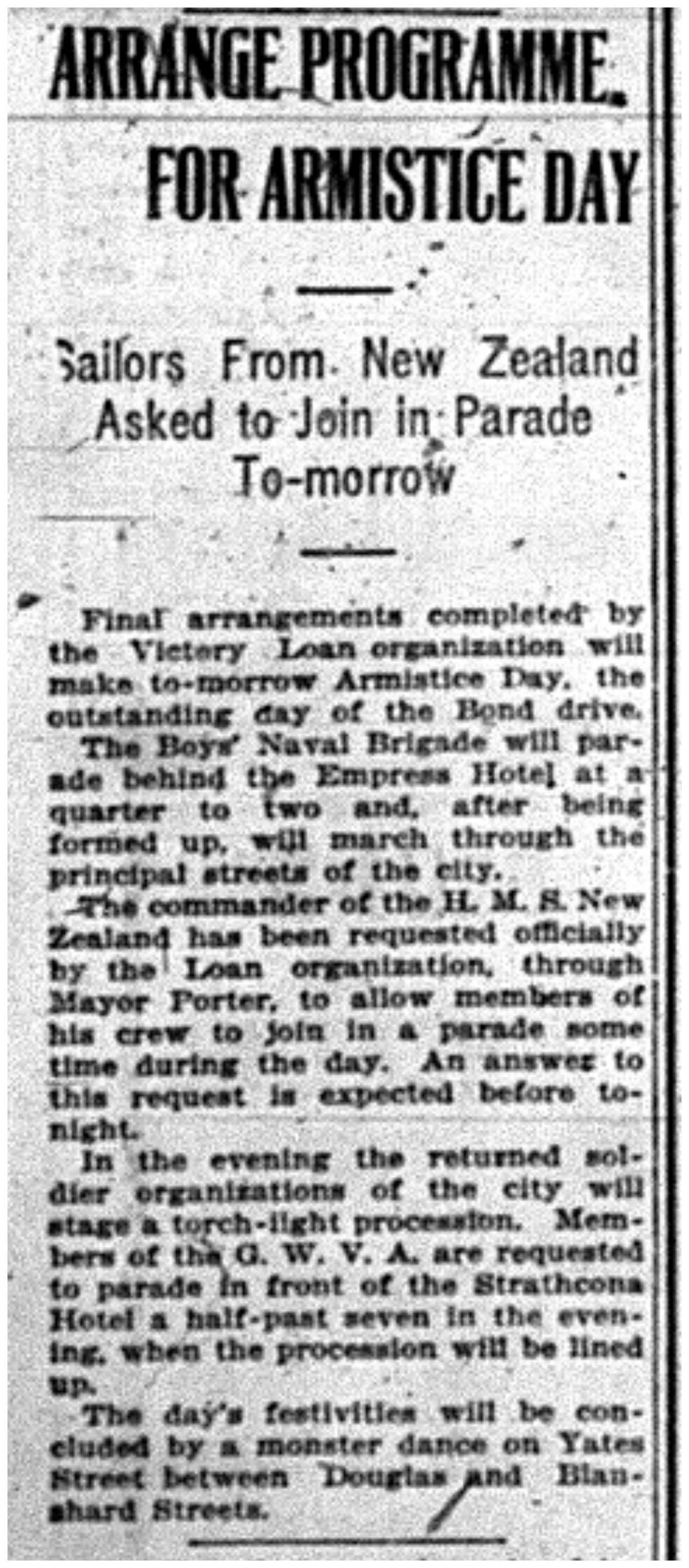 """Arrange Programme For Armistice Day"""
