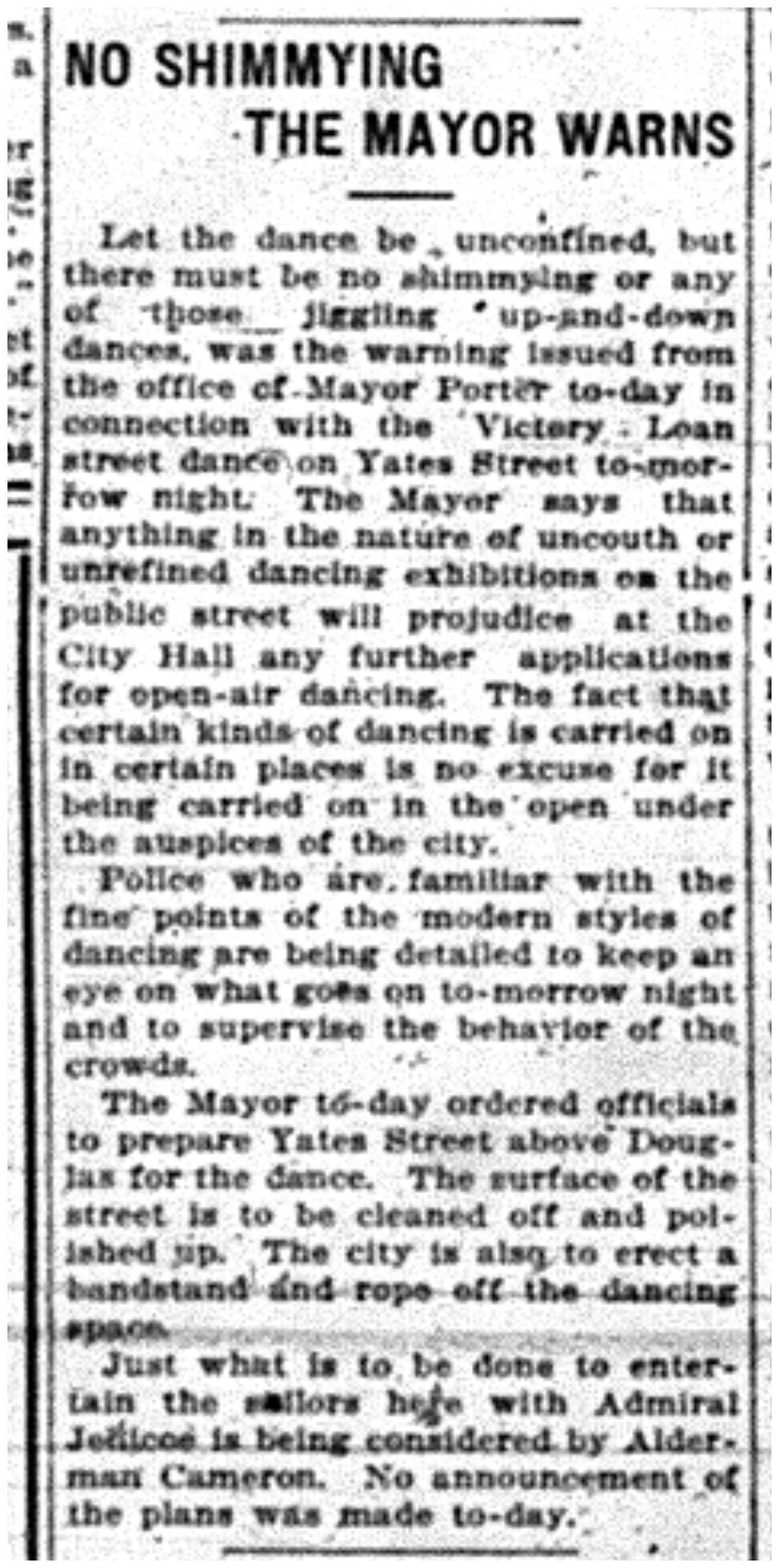 """""""No Shimmying, The Mayor Warns"""""""
