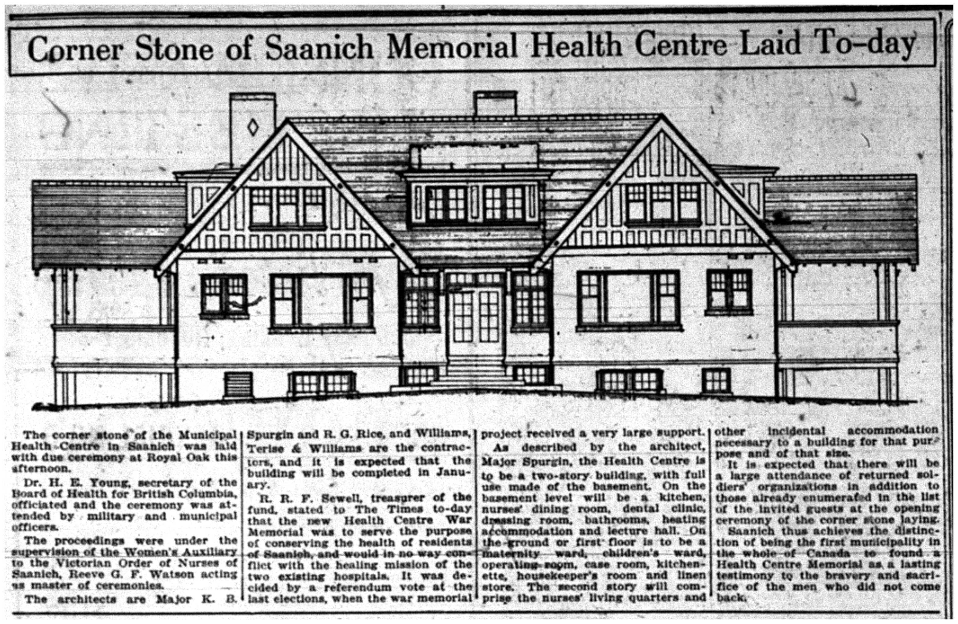 """Cornerstone of Saanich Memorial Health Centre Laid To-day"""