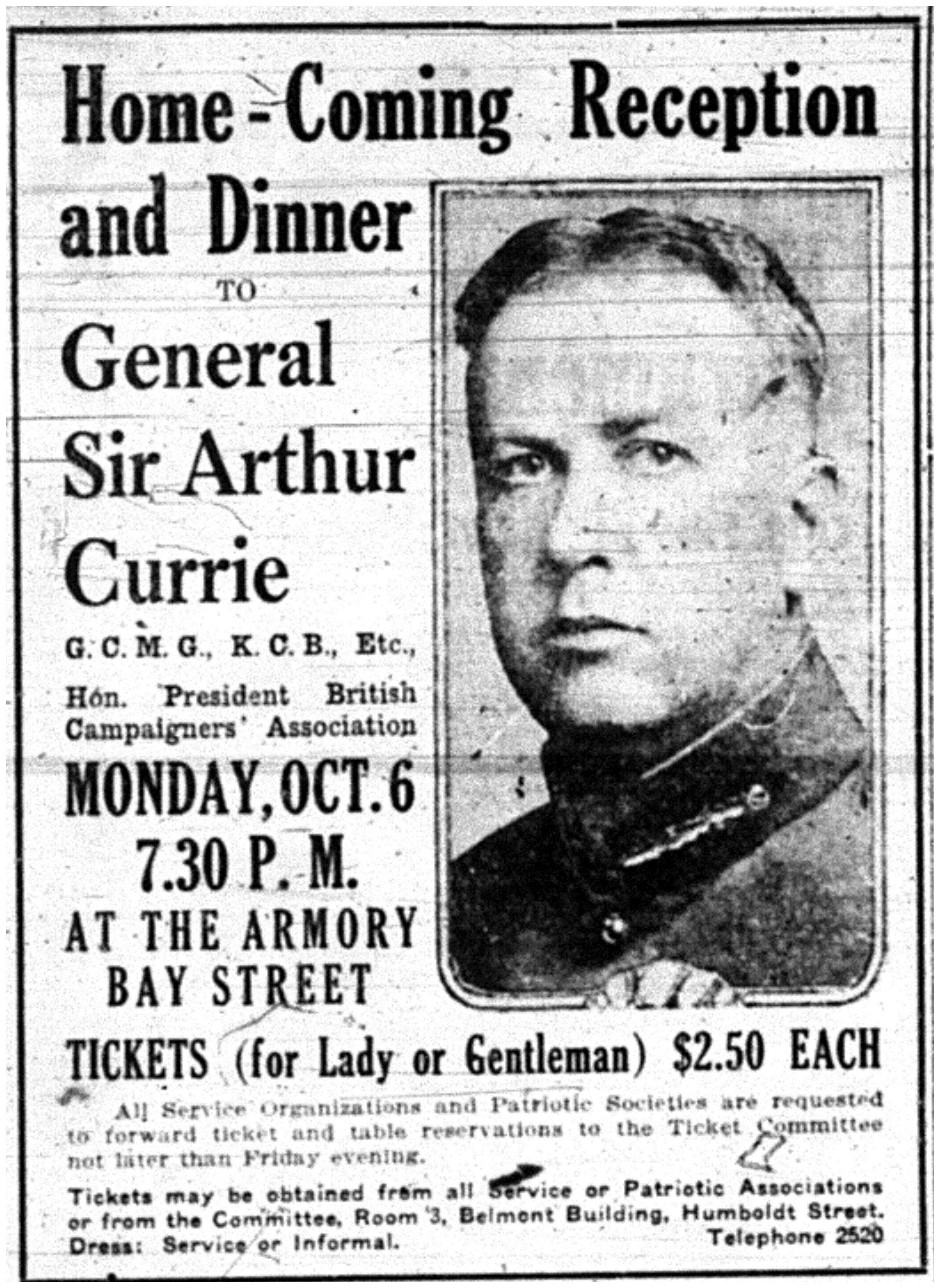 """Home-Coming Reception and Dinner to General Sir Arthur Currie"""