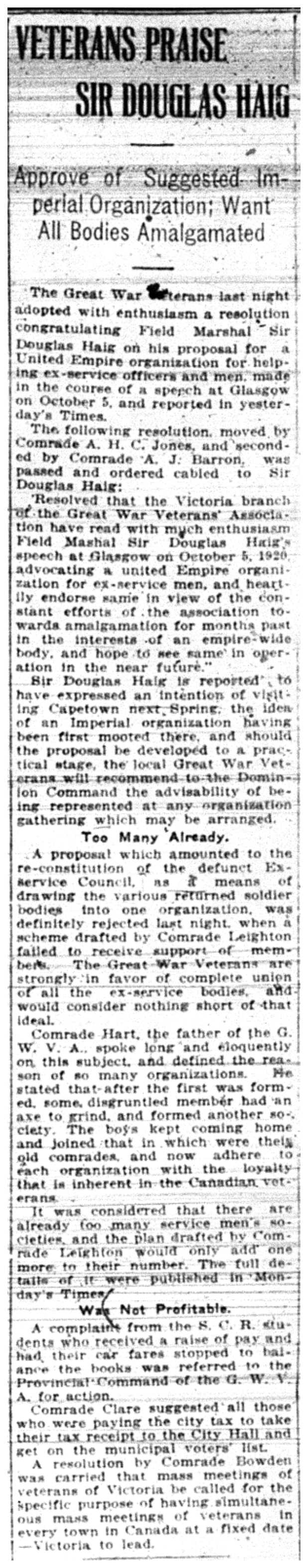 """""""Veterans Praise Sir Douglas Haig"""""""