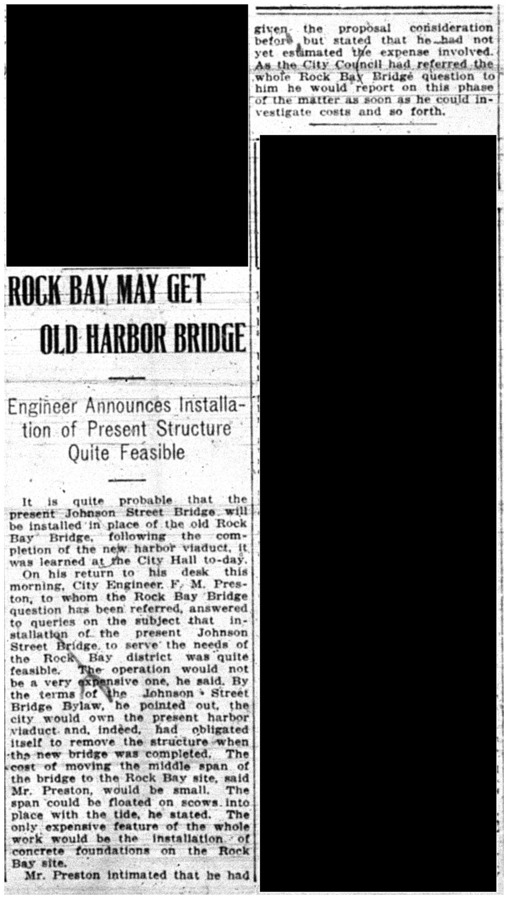 """Rock Bay May Get Old Harbour Bridge"""