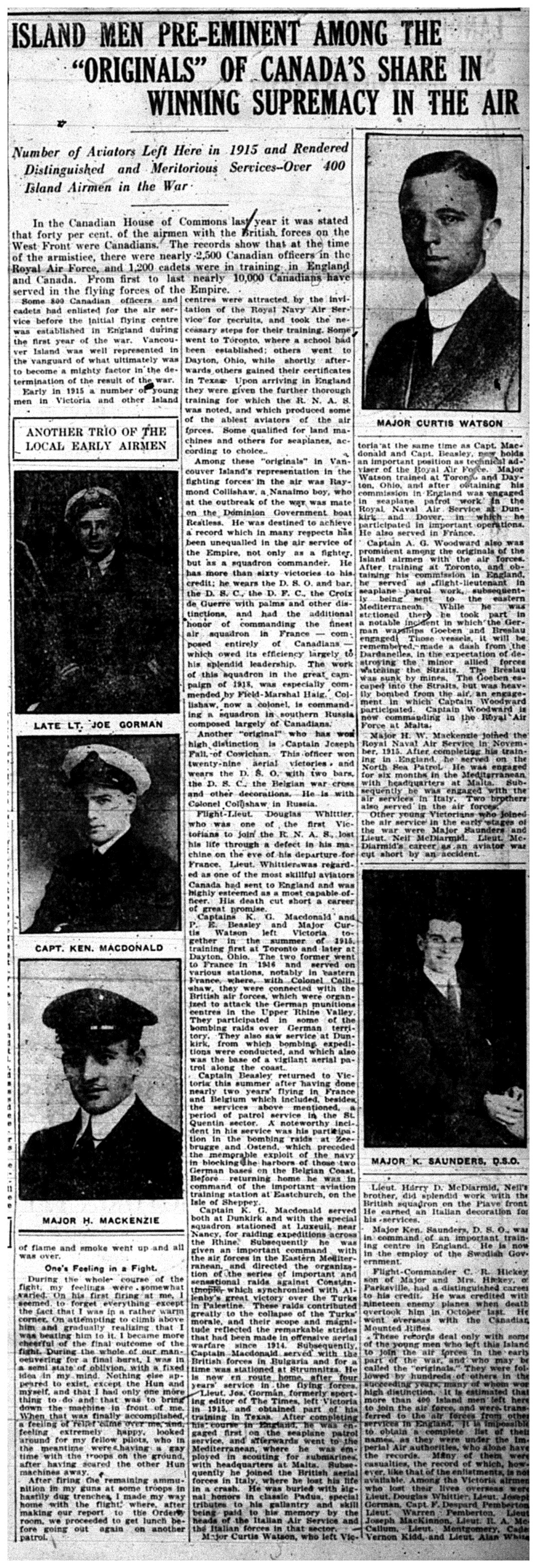 """""""Island Men Pre-Eminent Among The """"Originals"""" Of Canada's Share In Winning Supremacy In The Air"""""""