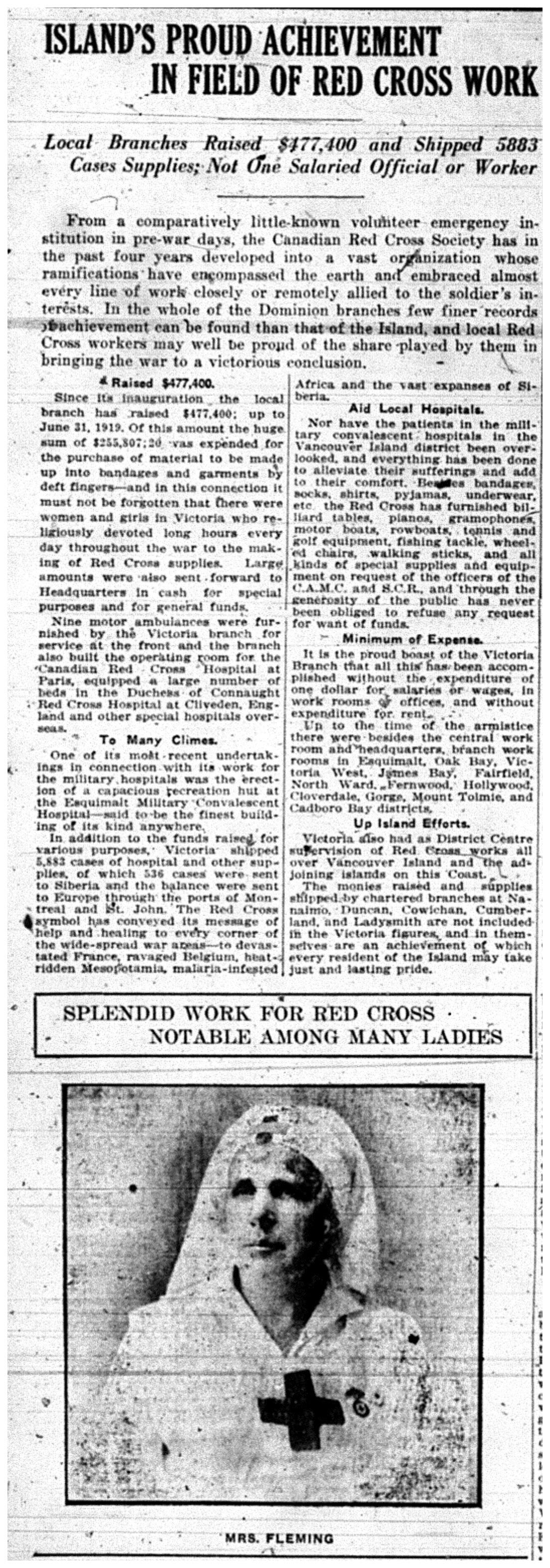 """""""Island's Proud Achievement In Field of Red Cross Work"""""""
