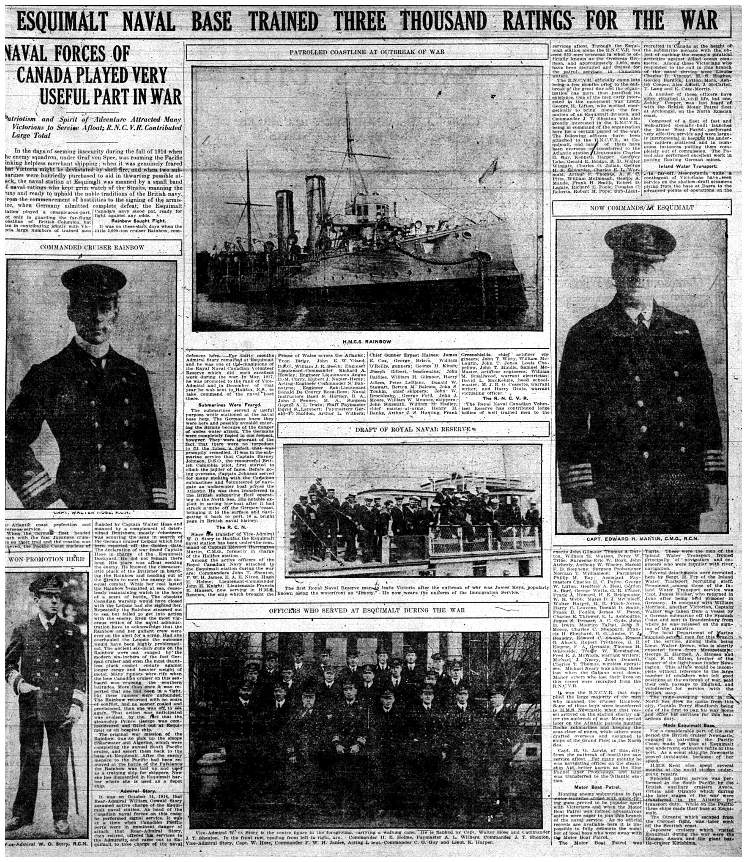 """Naval Forces of Canada Played Very Useful Part In War"""