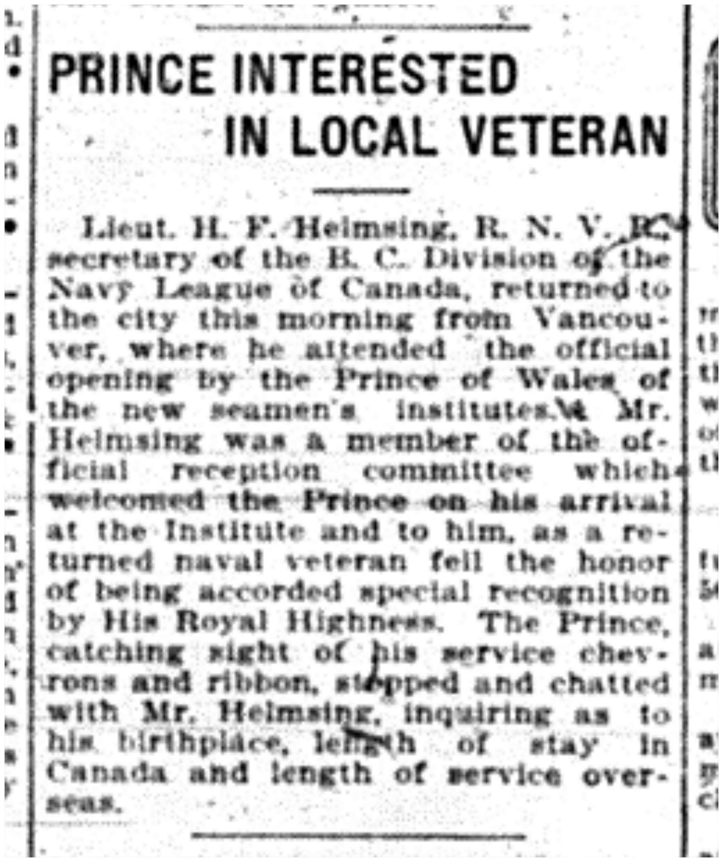 """Prince Interested In Local Veteran"""