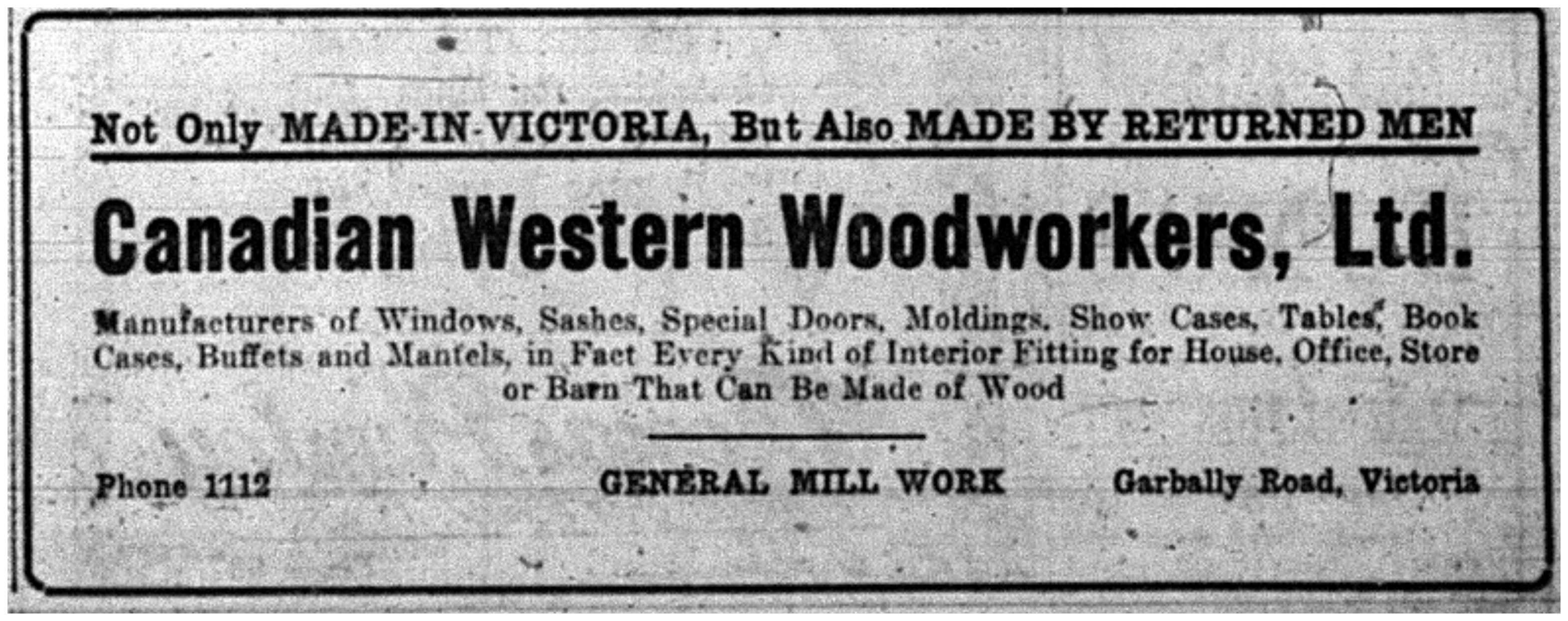 """Not Only Made-in-Victoria, But Also Made by Returned Men"""
