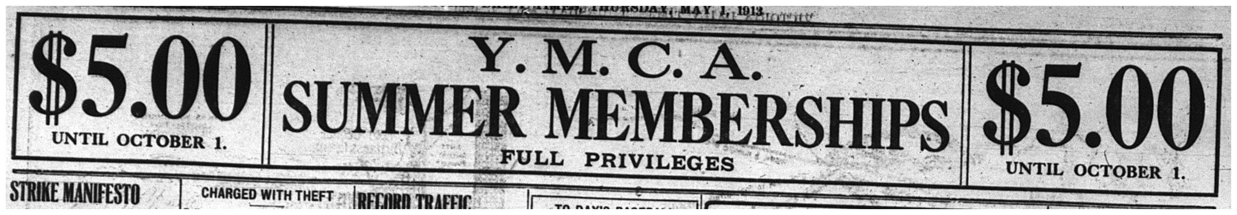 """""""Y.M.C.A. Summer Memberships"""""""