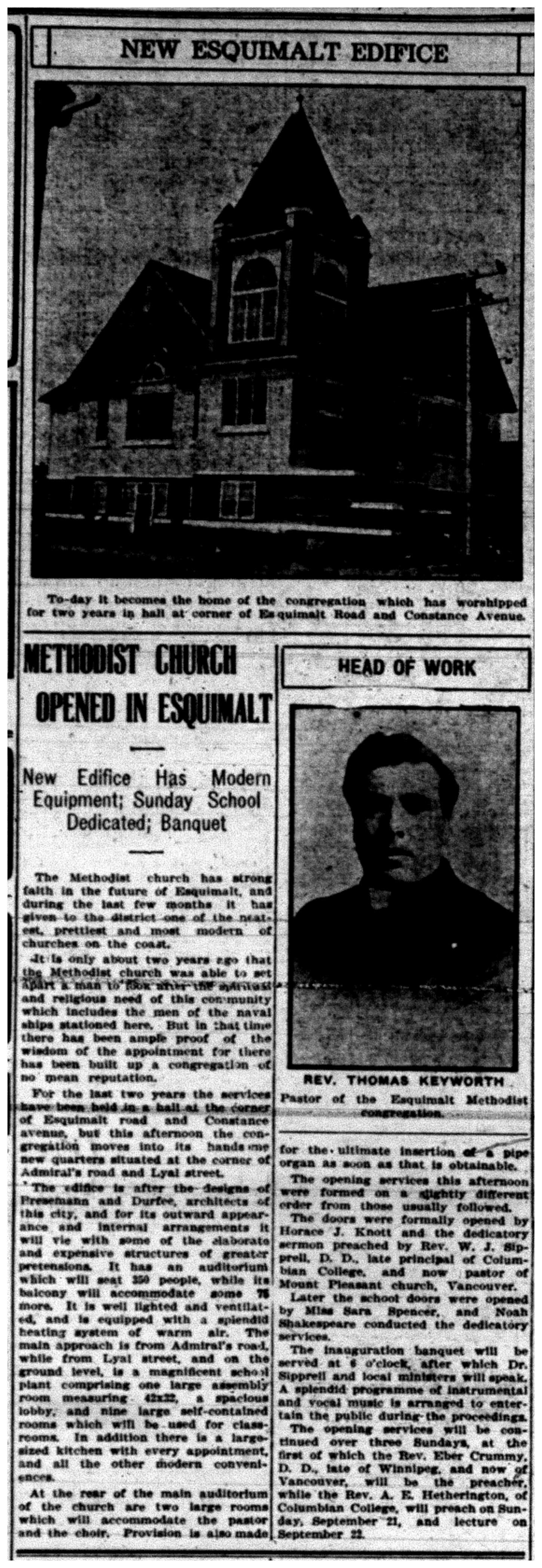 """Methodist Church Opened in Esquimalt"""