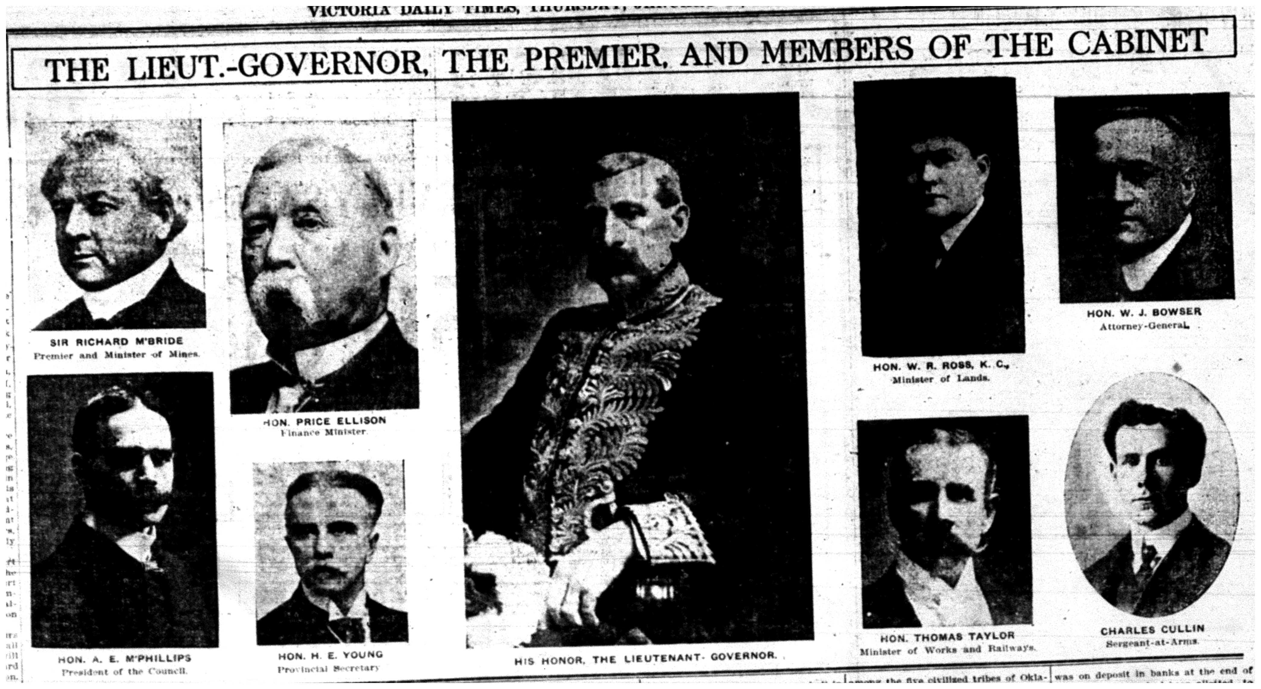 """The Lieut.-Governor, The Premier, and Members of Cabinet"""