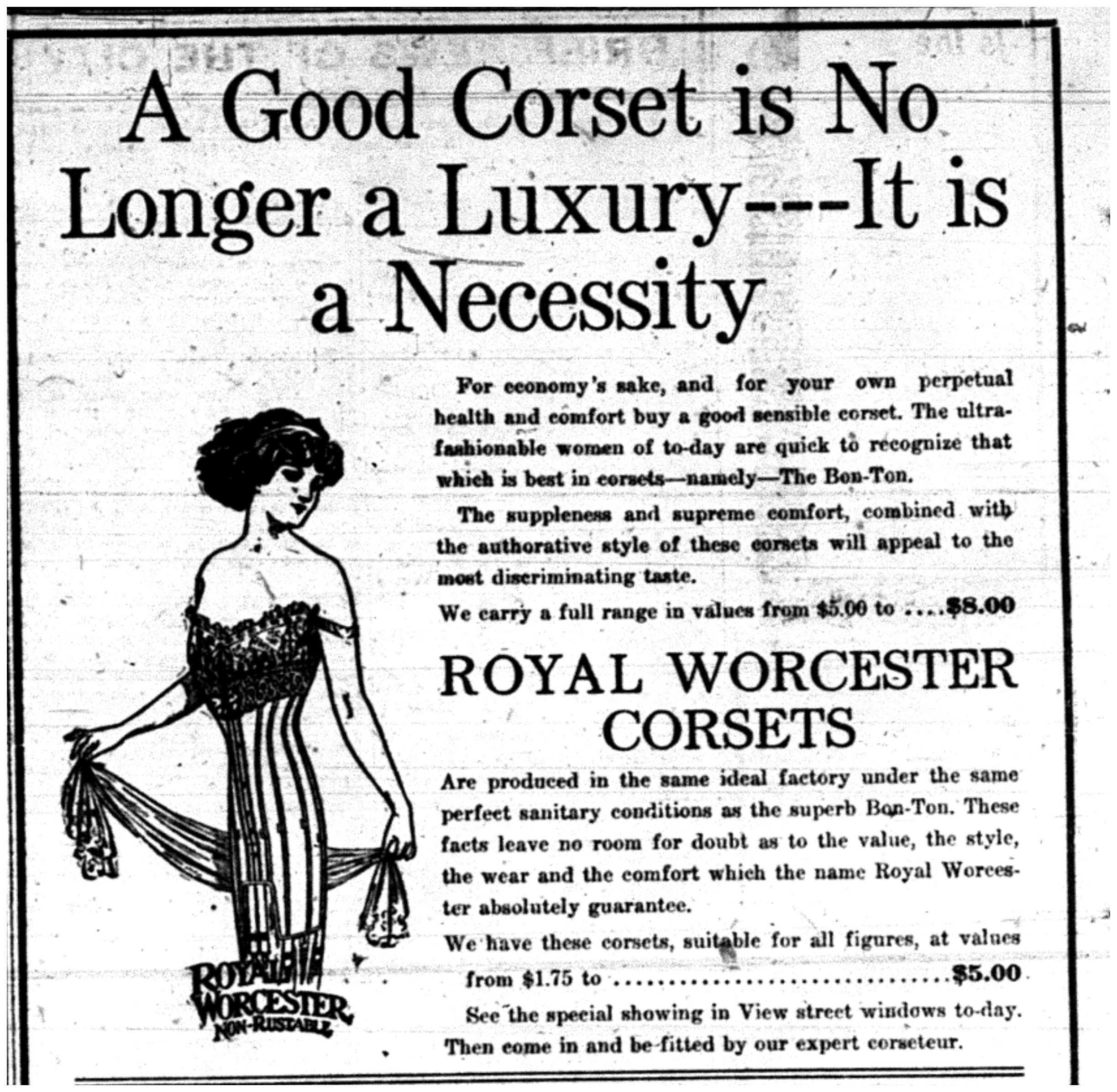 """A Good Corset is No Longer a Luxury - It's a Necessity"""