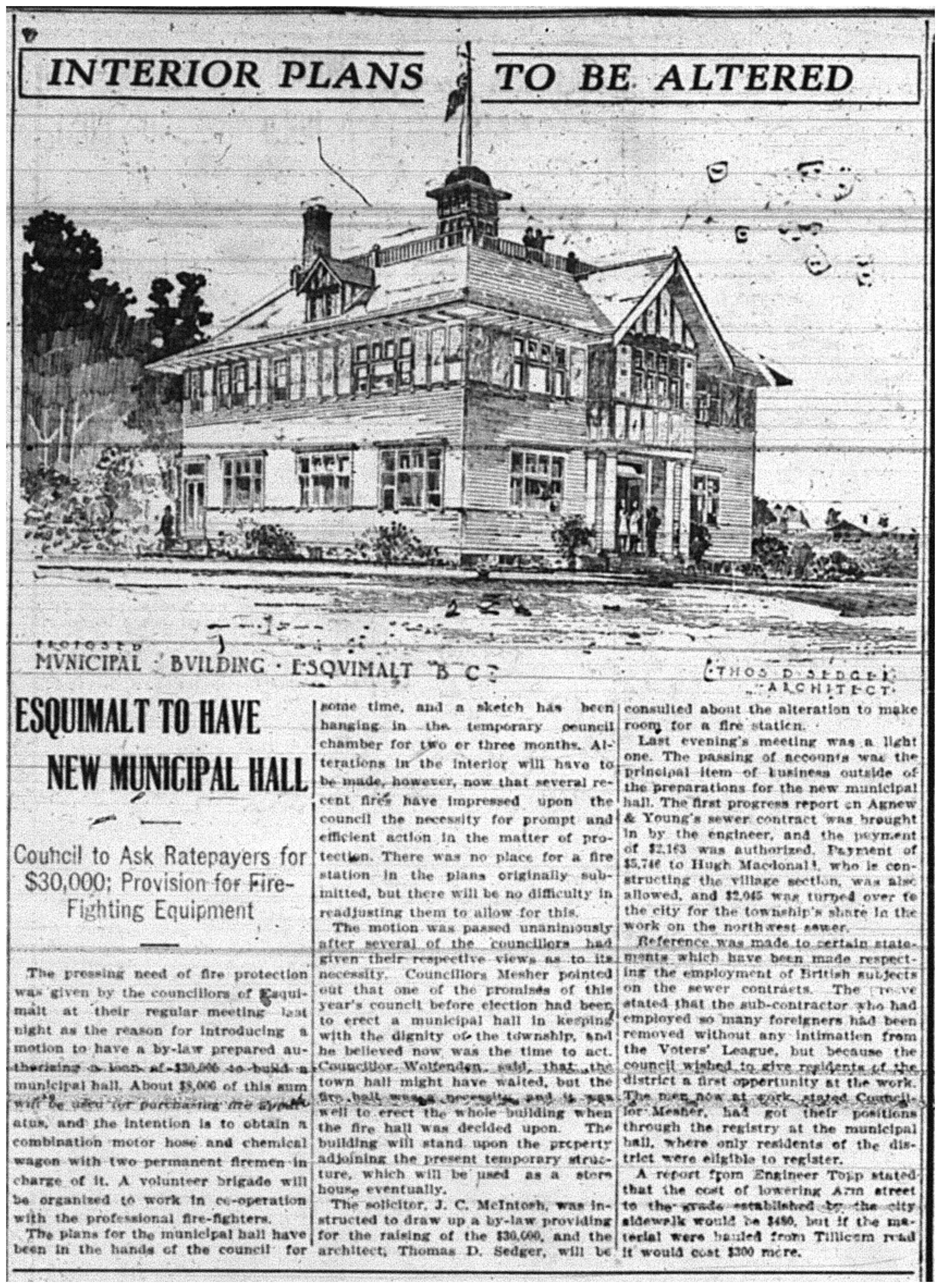 """Esquimalt to Have New Municipal Hall"""