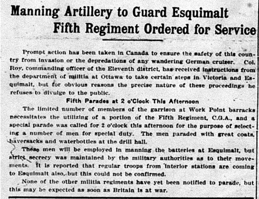 """Manning Artillery to Guard Esquimalt - Fifth Regiment Ordered for Service"""