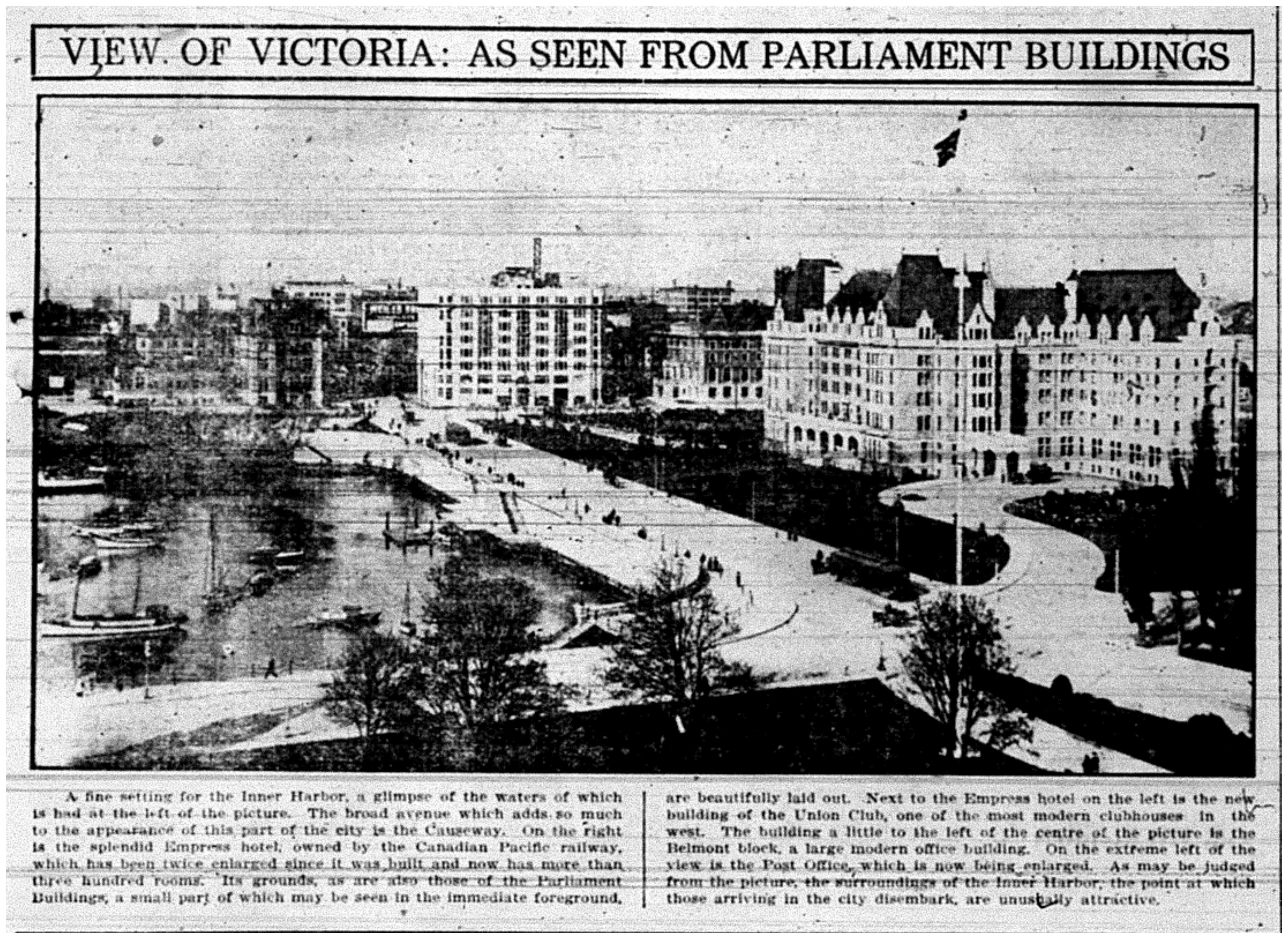 """View of Victoria: As Seen From Parliament Buildings"""