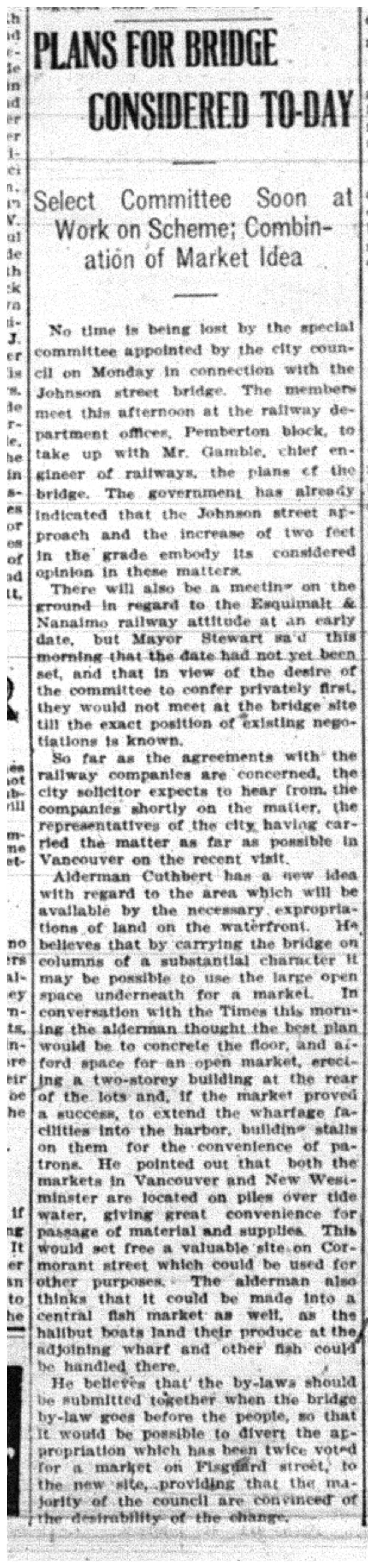 """Plans for Bridge Considered To-Day"""