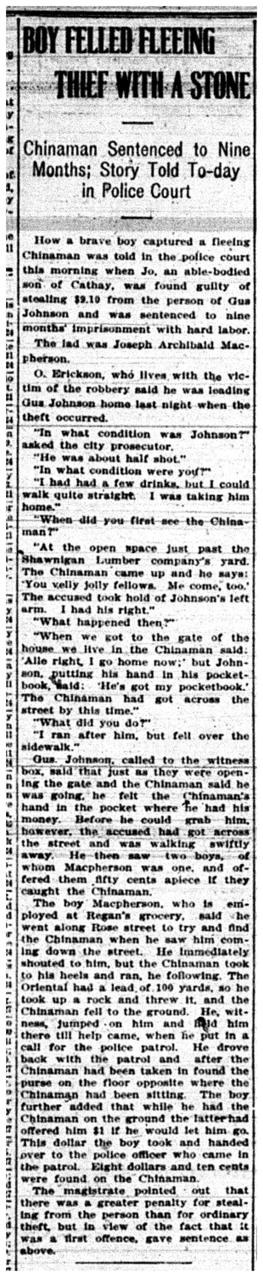 """""""Boy Felled Fleeing Thief With Stone"""""""