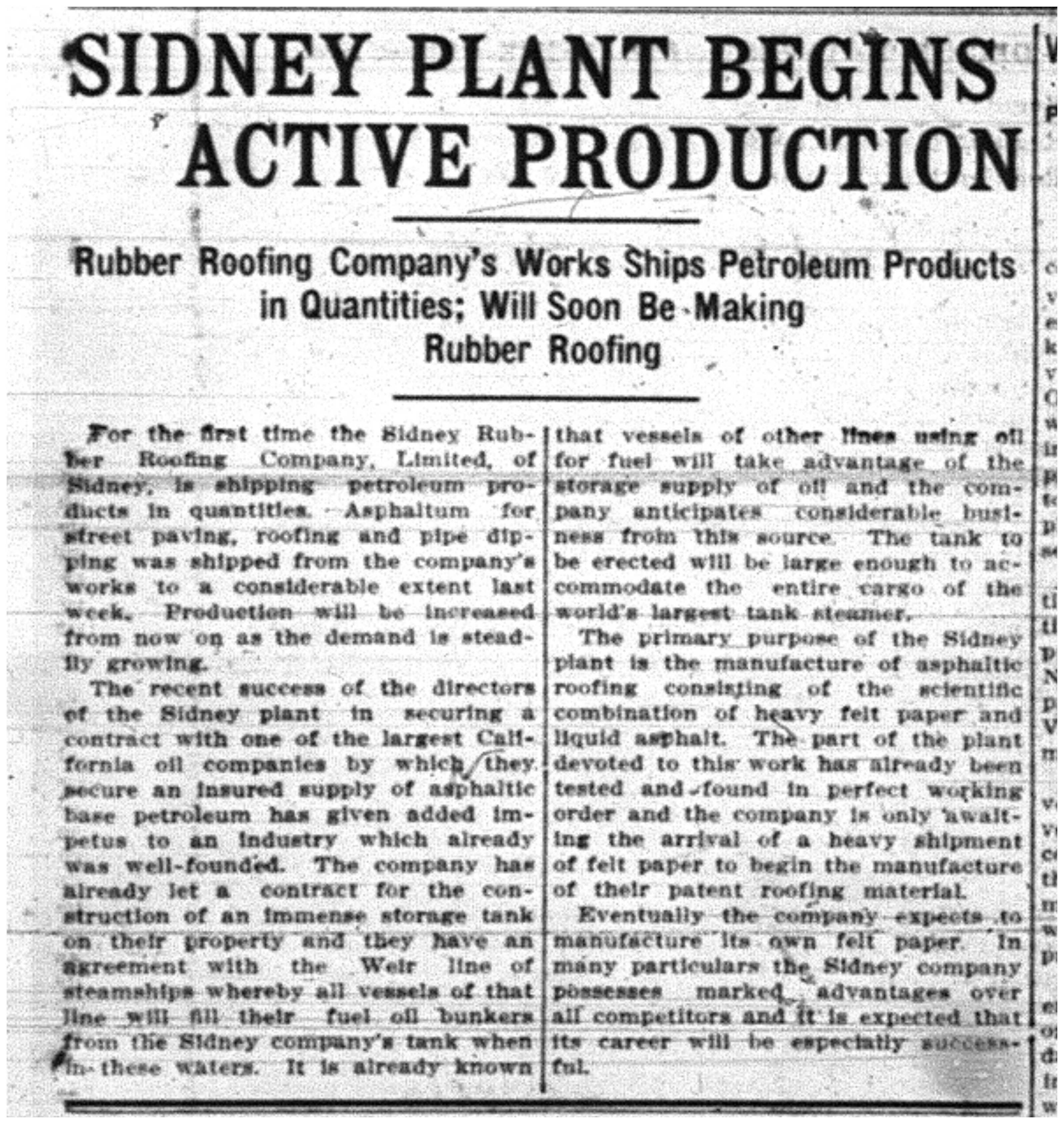 """Sidney Plants Begin Active Production"""