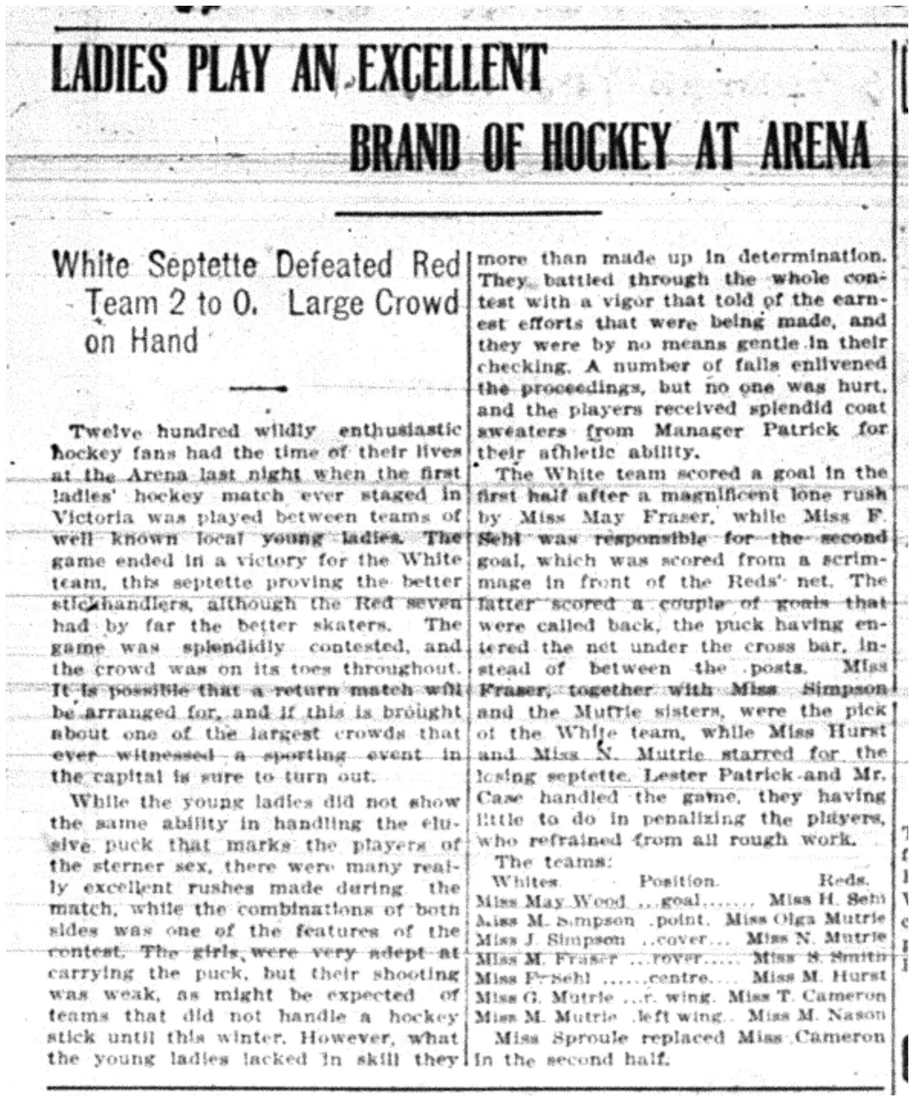 """""""Ladies Play an Excellent Brand of Hockey at Arena"""""""