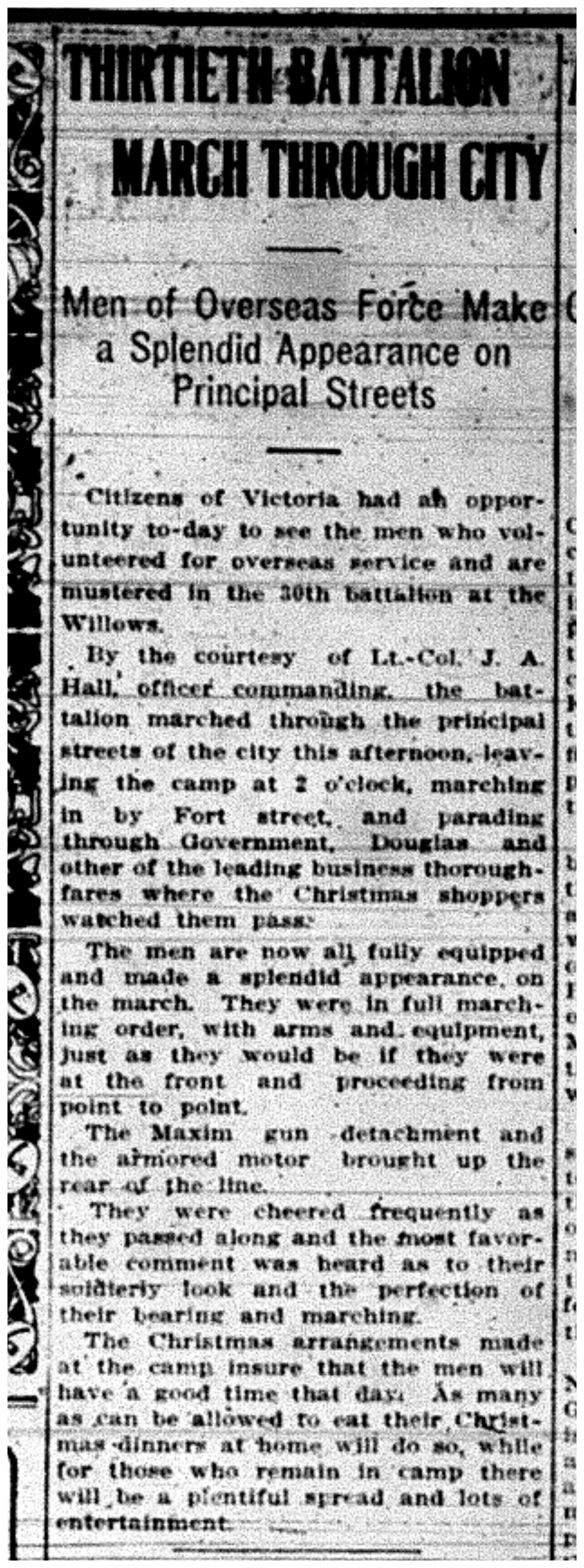"""Thirtieth Battalion March Through City"""