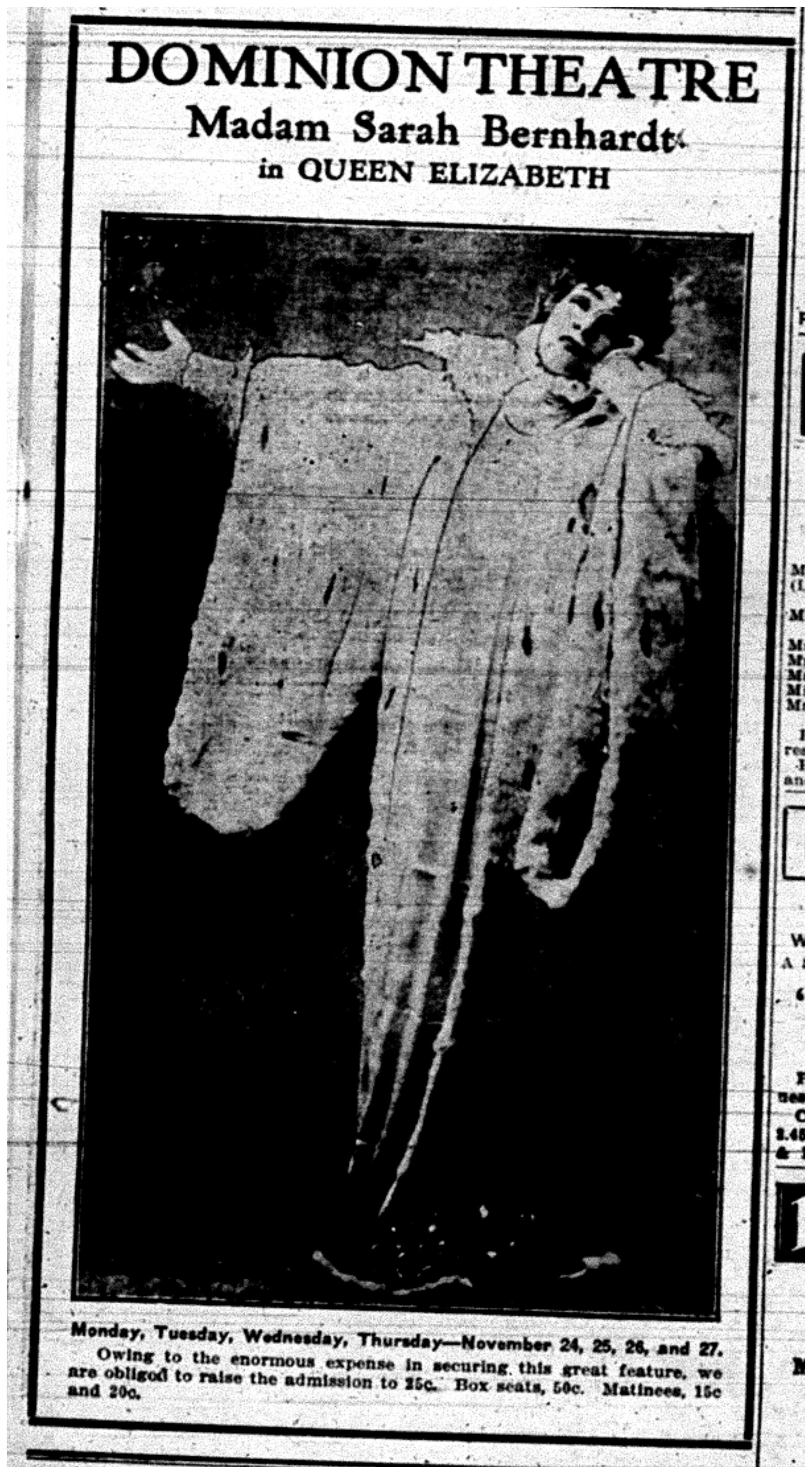 """Madam Sarah Bernhardt in Queen Elizabeth"""