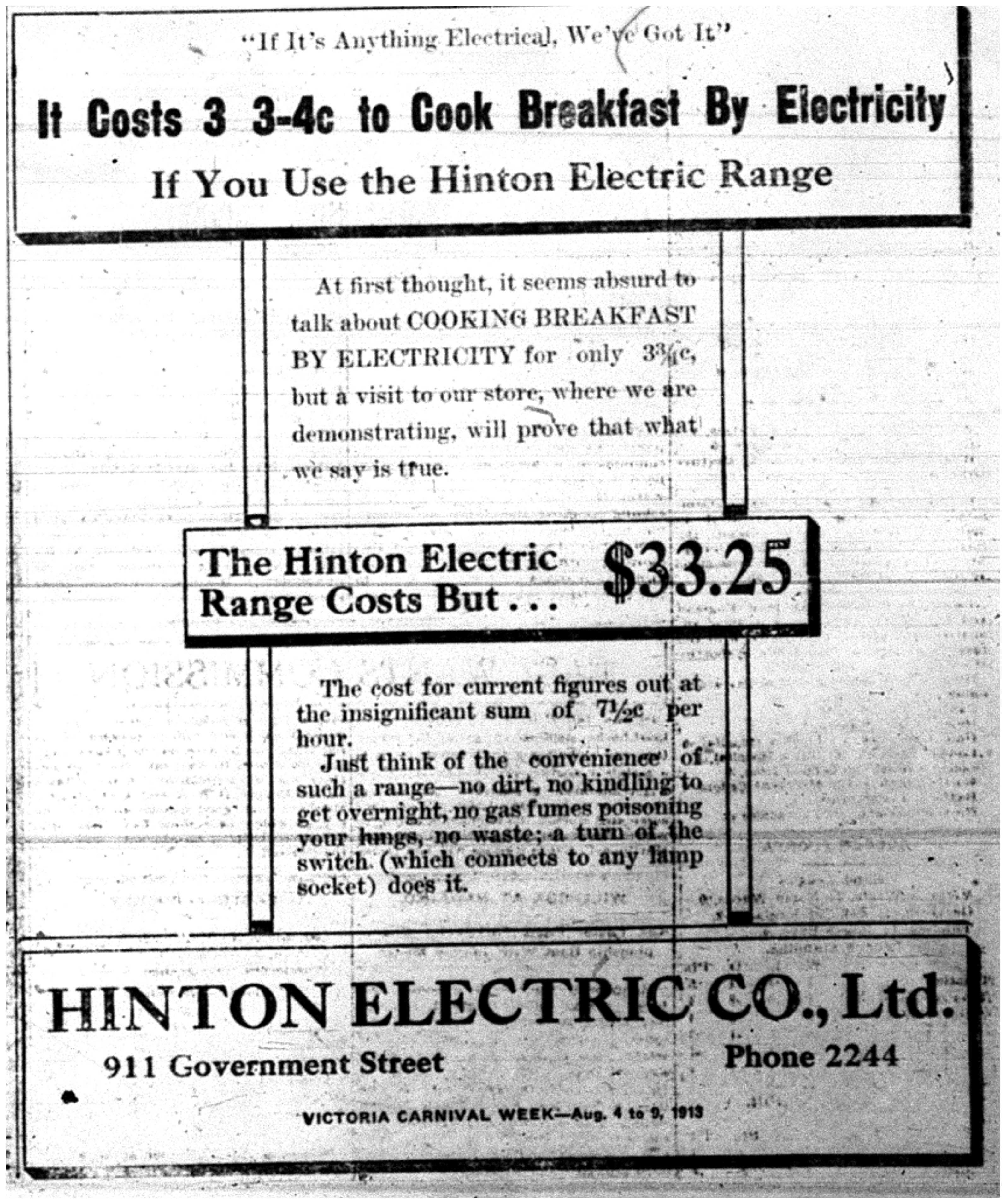 """""""The Hinton Electric Range"""""""