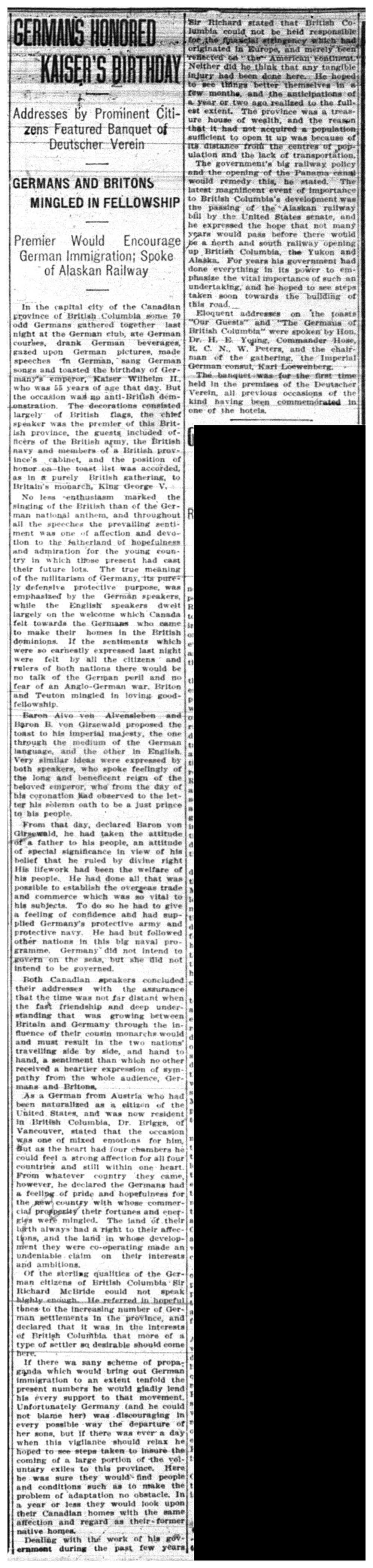"""""""Germans Honored Kaiser's Birthday"""""""
