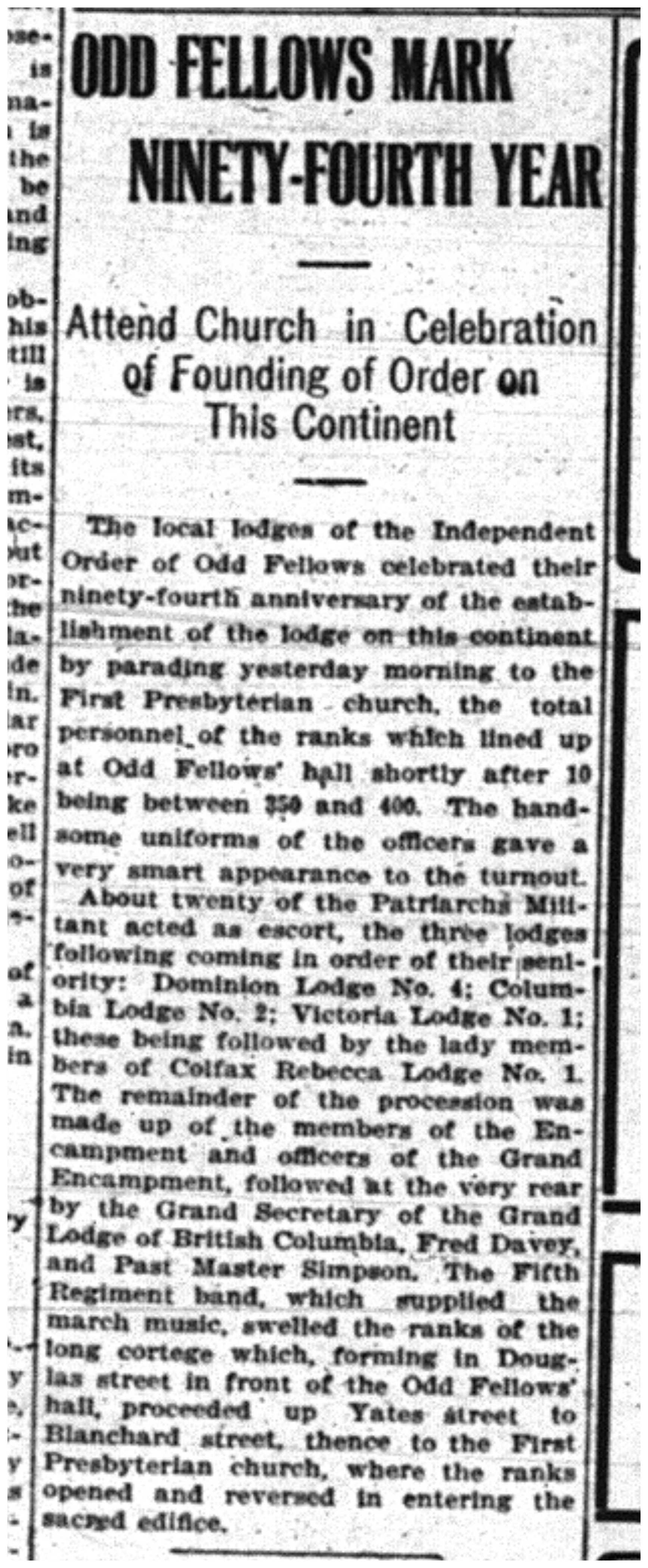 """""""Odd Fellows Mark Ninety-Fourth Year"""""""
