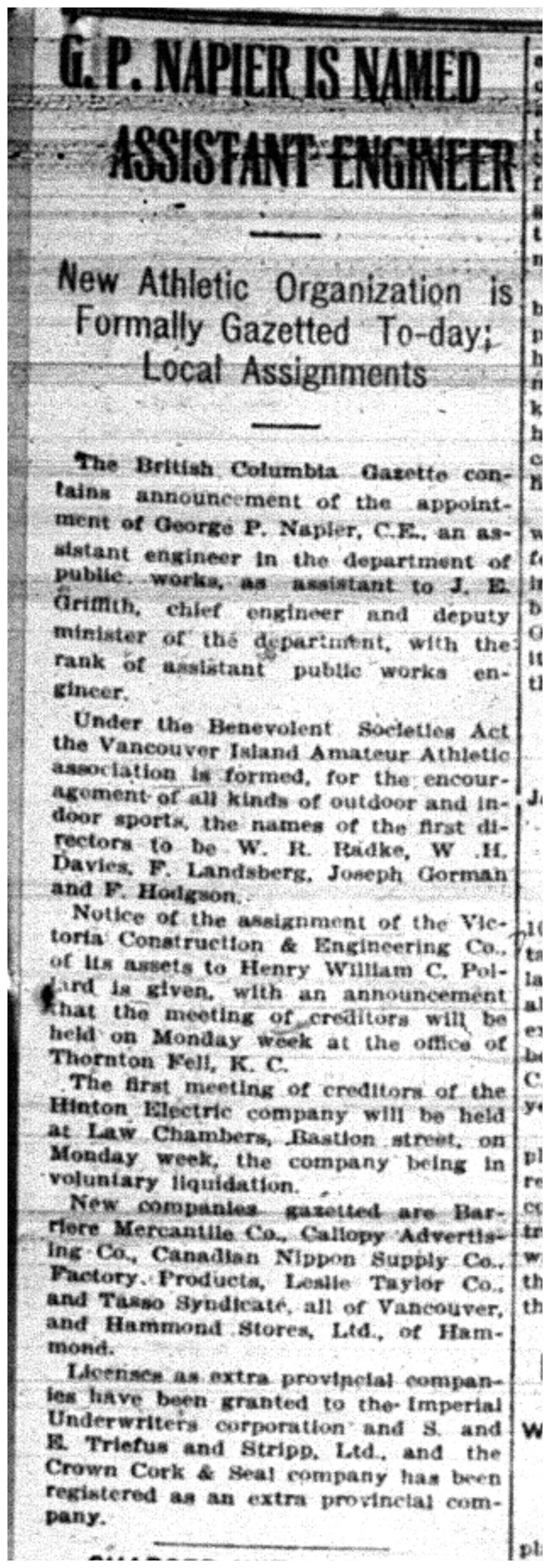 """G.P. Napier is Named Assistant Engineer"""