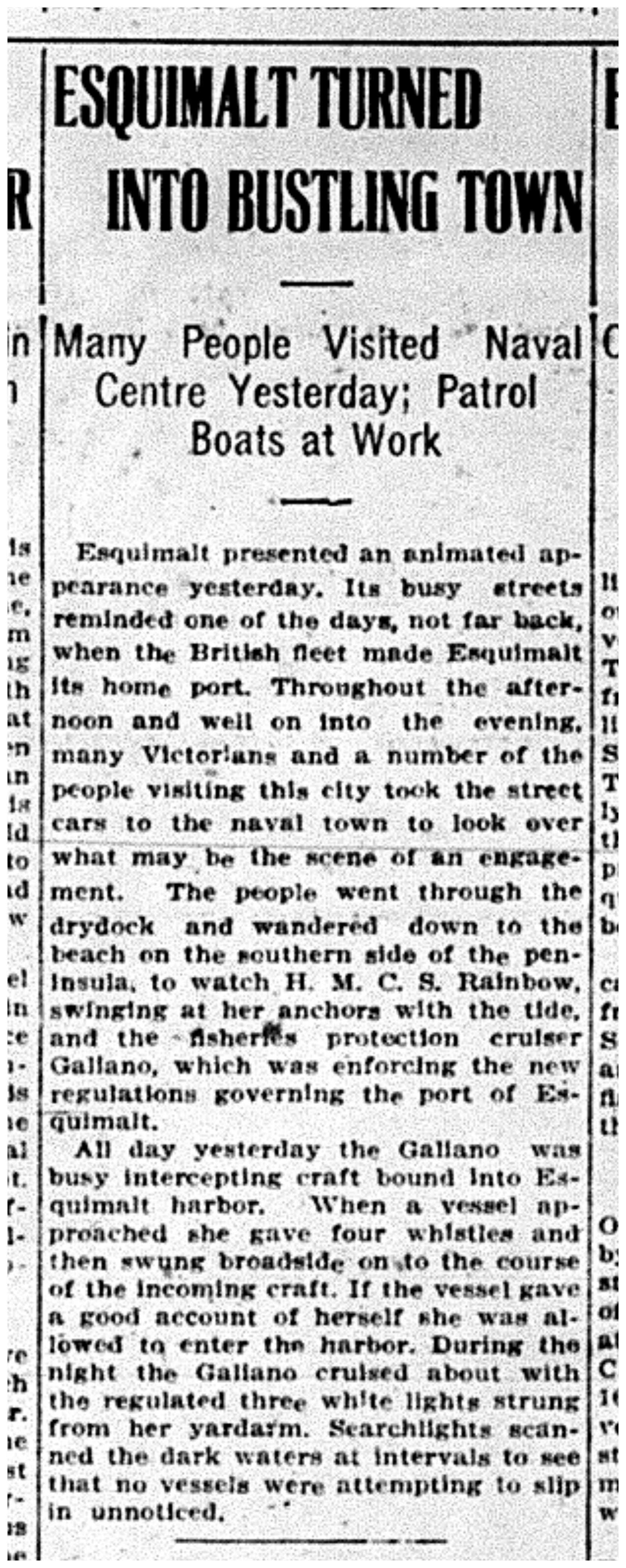 """""""Esquimalt Turned into Bustling Town"""""""