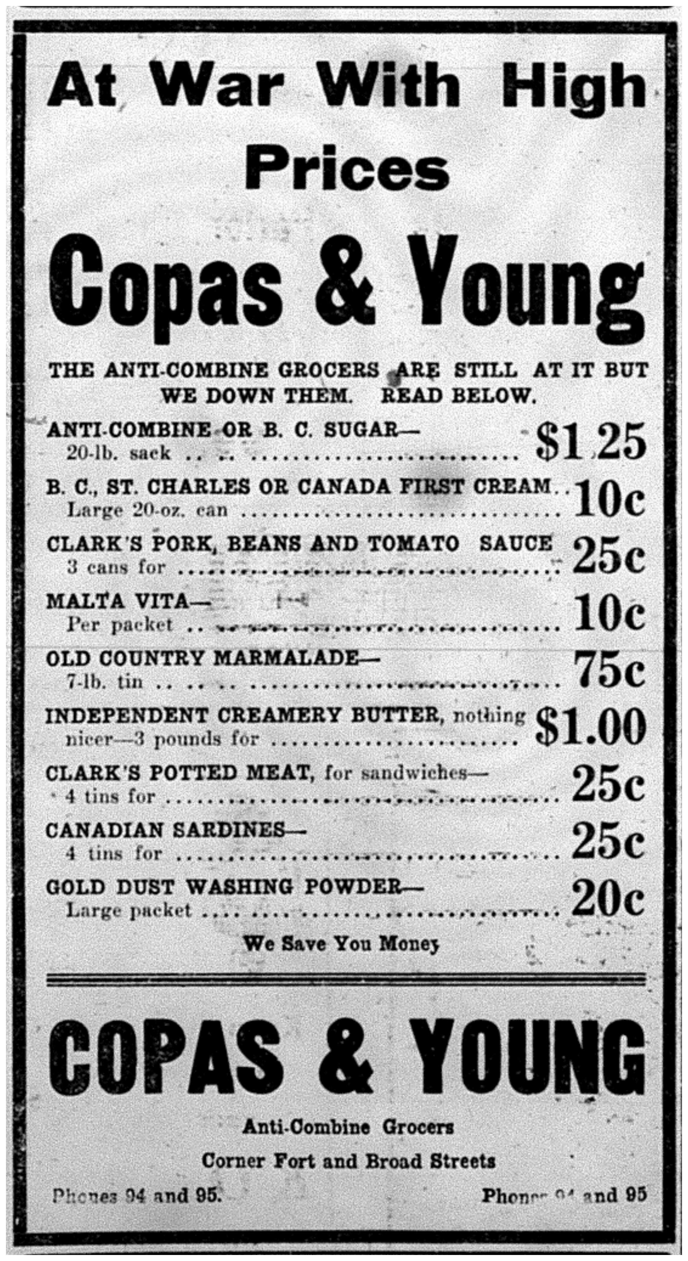 """At War WIth High Prices: Copas and Young."""